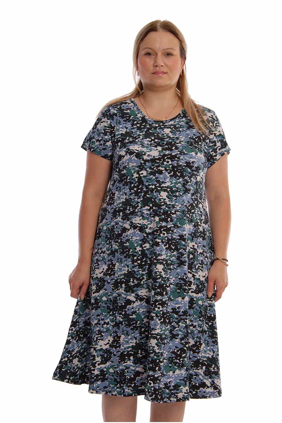 Desenli Kloş Kesim Elbise 22A-67811