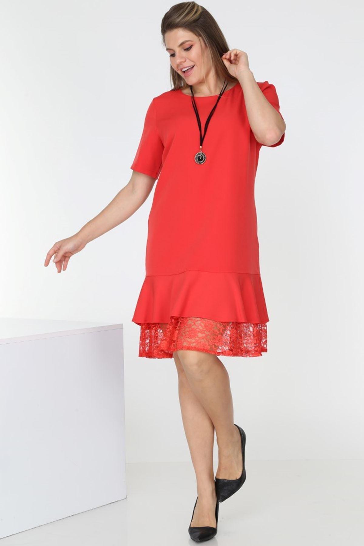 Dantelli Kırmızı Elbise H3-0555