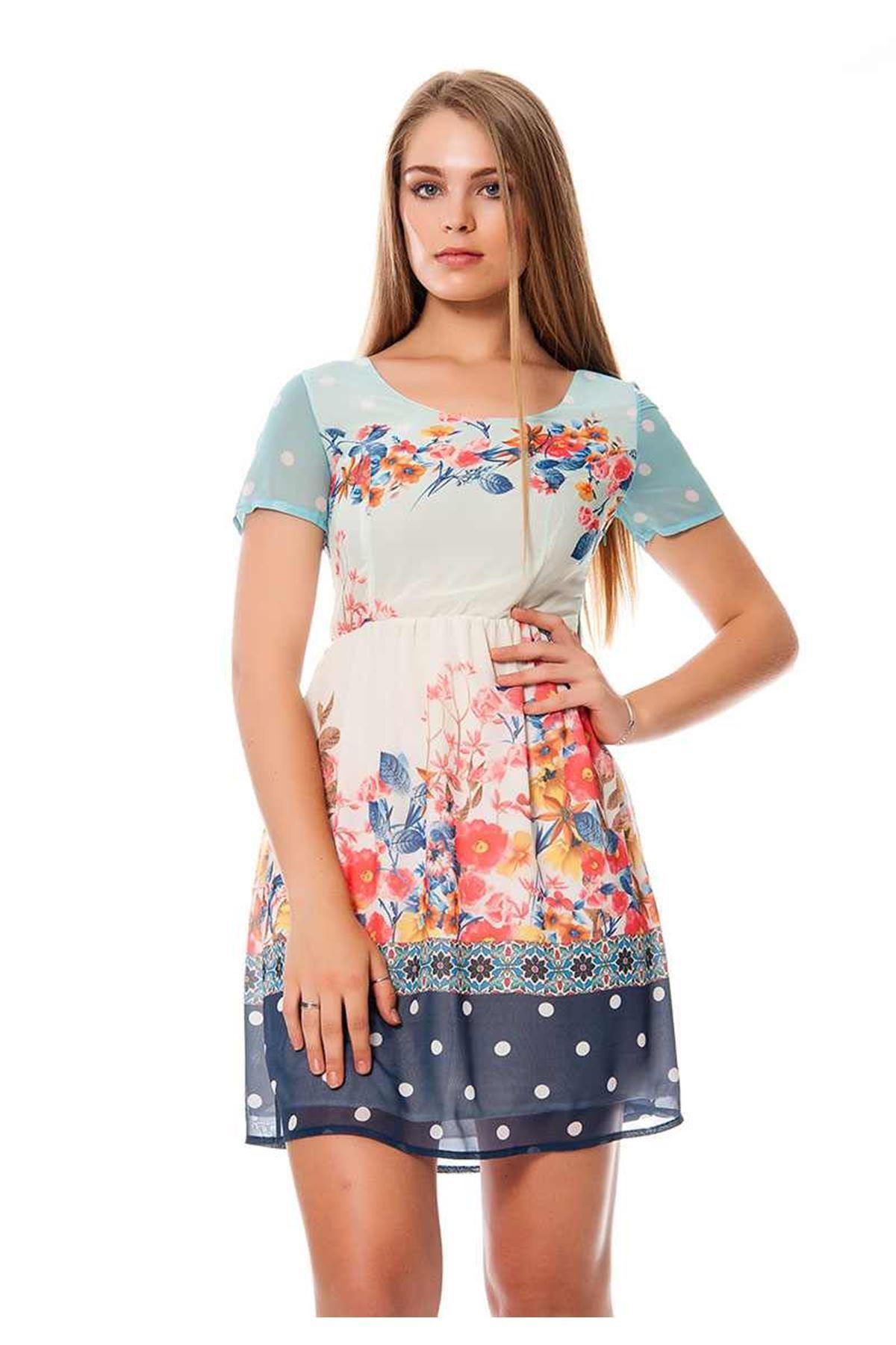 Çiçek Desenli Şifon  Kadın Elbise I6-117113