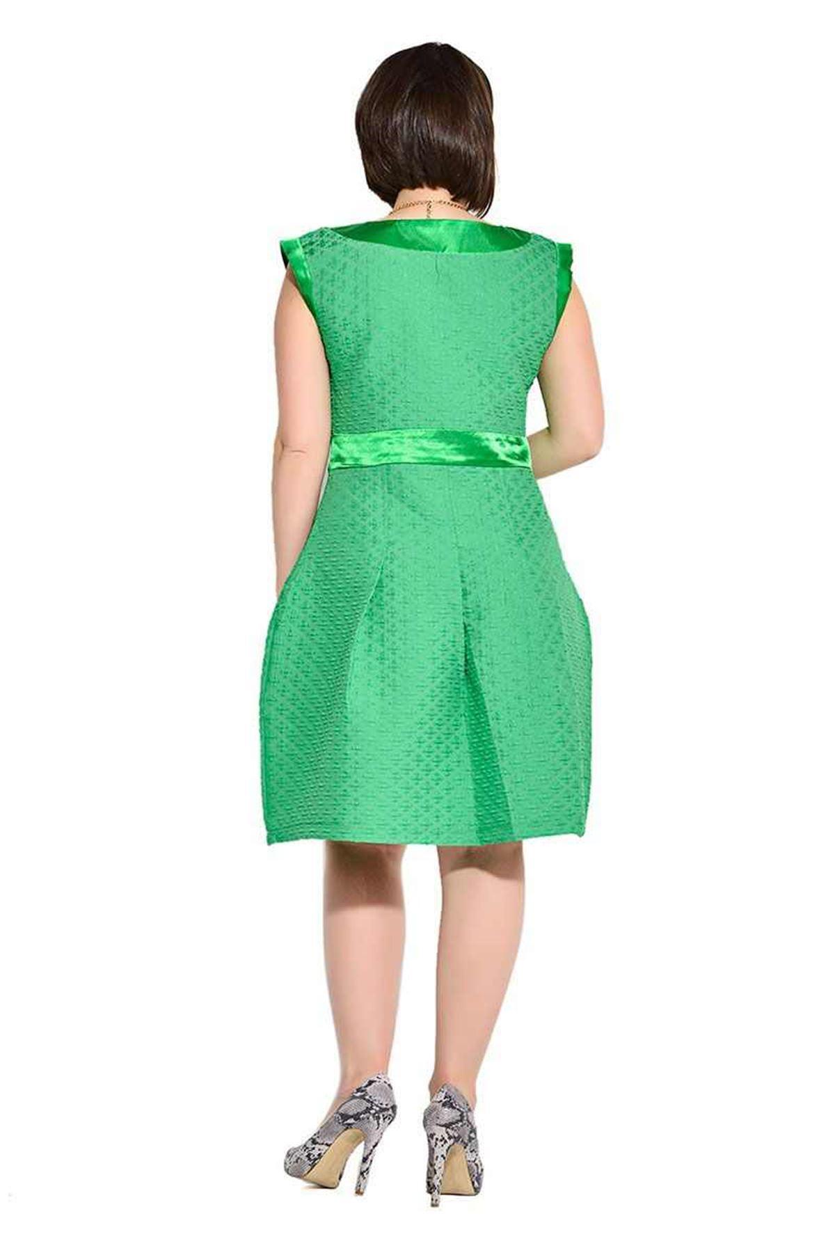Büyük Beden Yeşil Saten Detaylı Kadın Elbise I4-112109