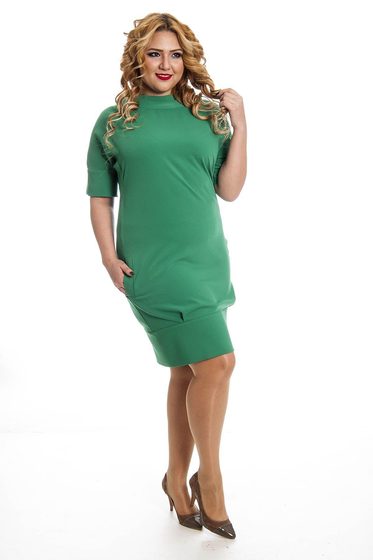 Büyük Beden Yeşil Yaka Detaylı Kadın Elbise G6-128344