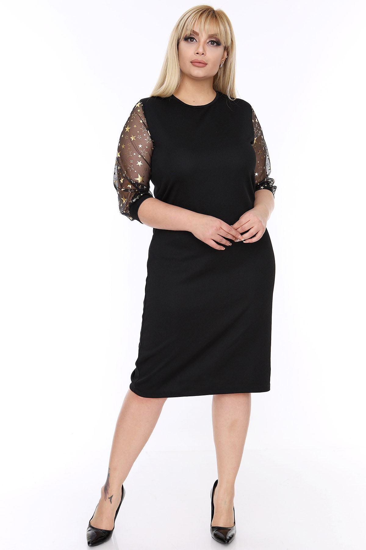 Büyük Beden Yıldız Kollu Elbise 3D-0022