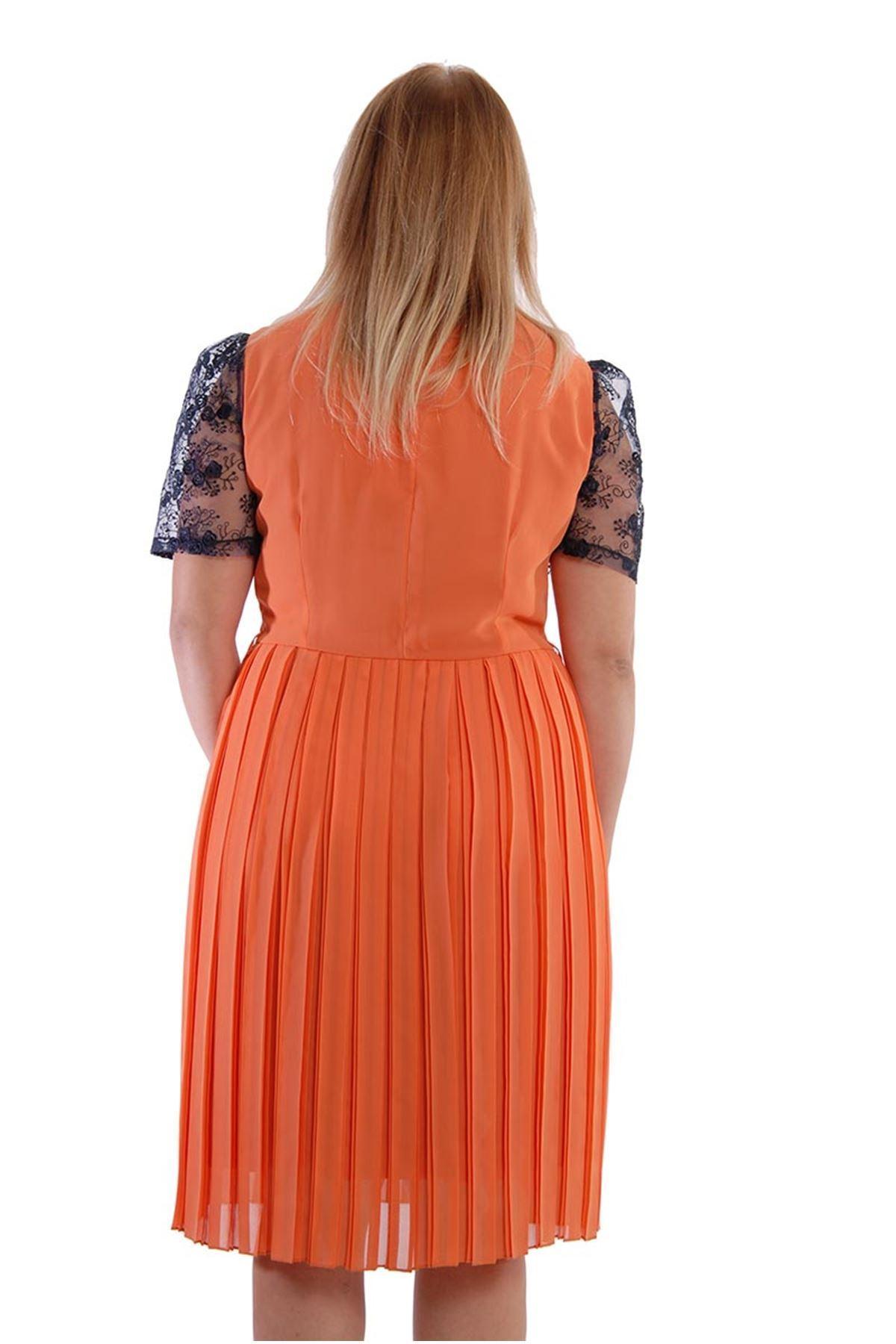 Büyük Beden Turuncu Dantelli Elbise J3-52806