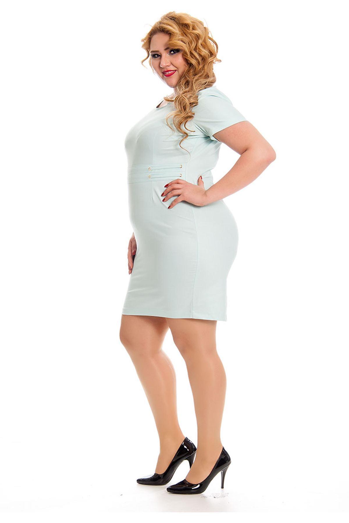 Büyük Beden Turkuaz Kadın Elbise K11-131014