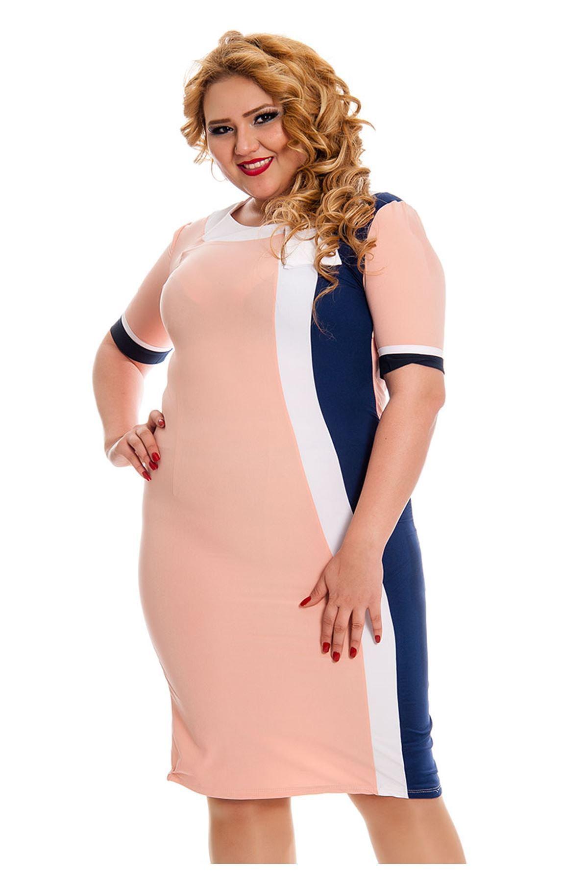 Büyük Beden Pudra Kadın Elbise J5-130846