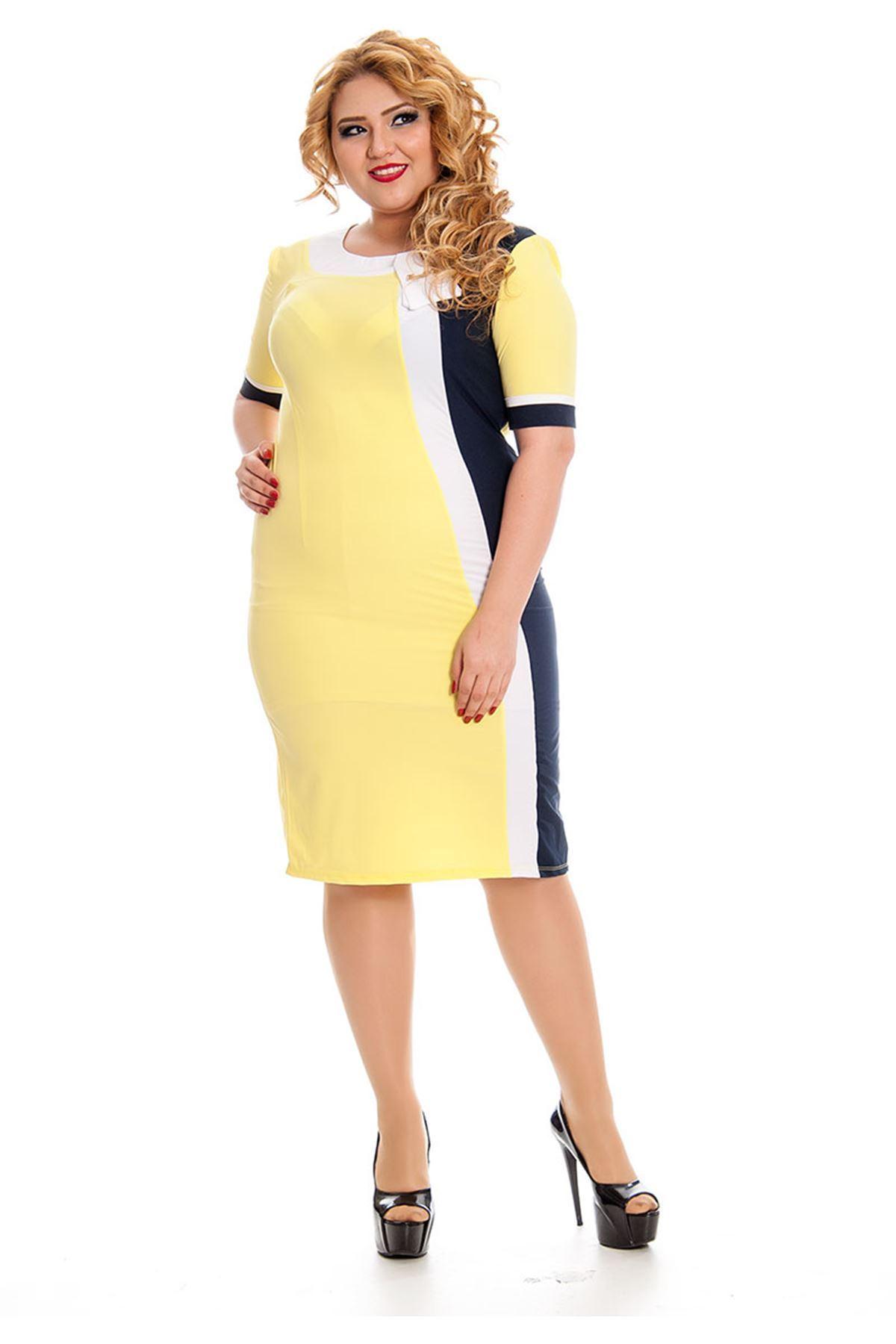 Büyük Beden Sarı Kadın Elbise J5-130822