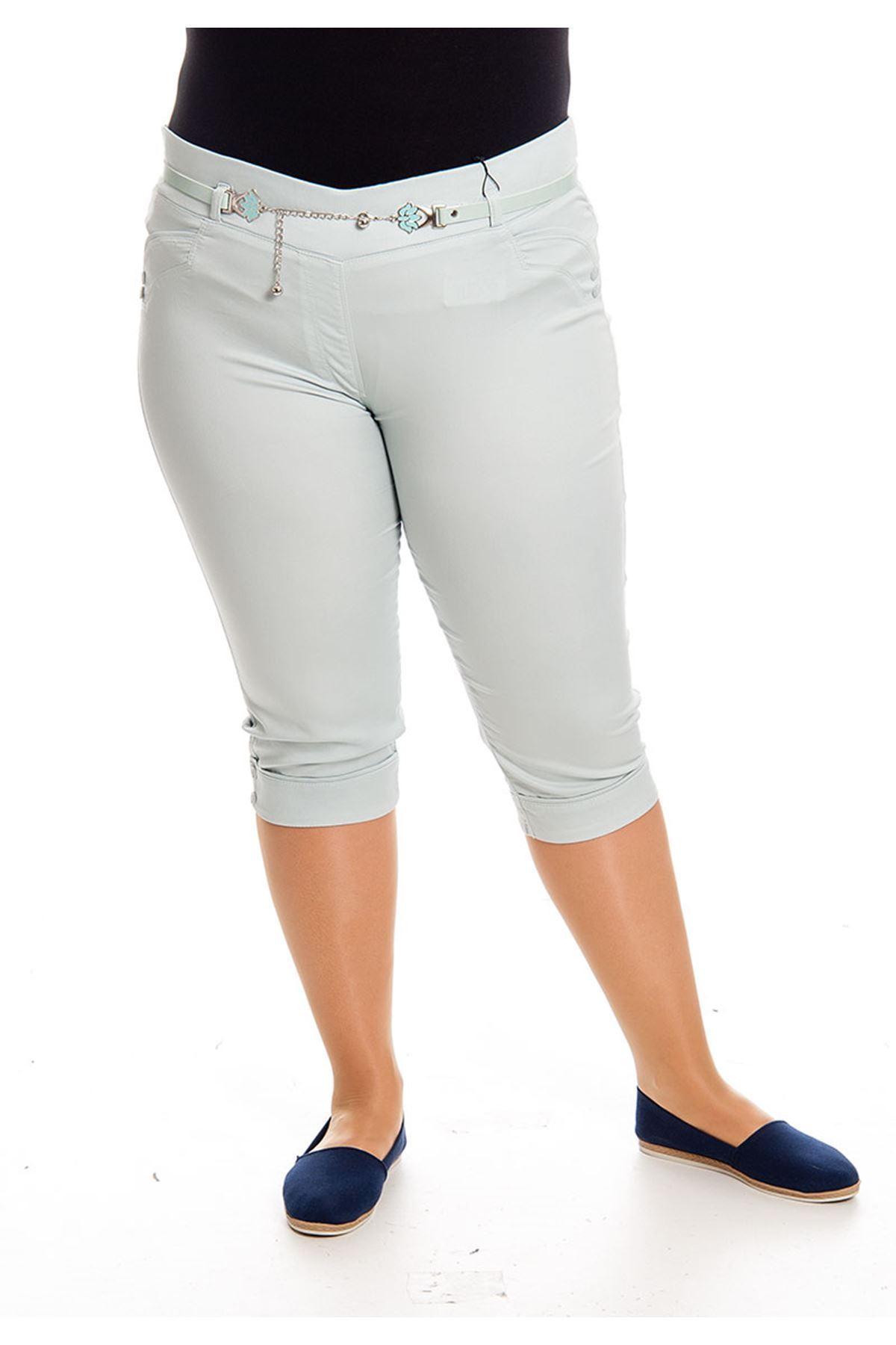 Büyük Beden Mint Yeşili Kapri Kadın Pantolon J5-128656