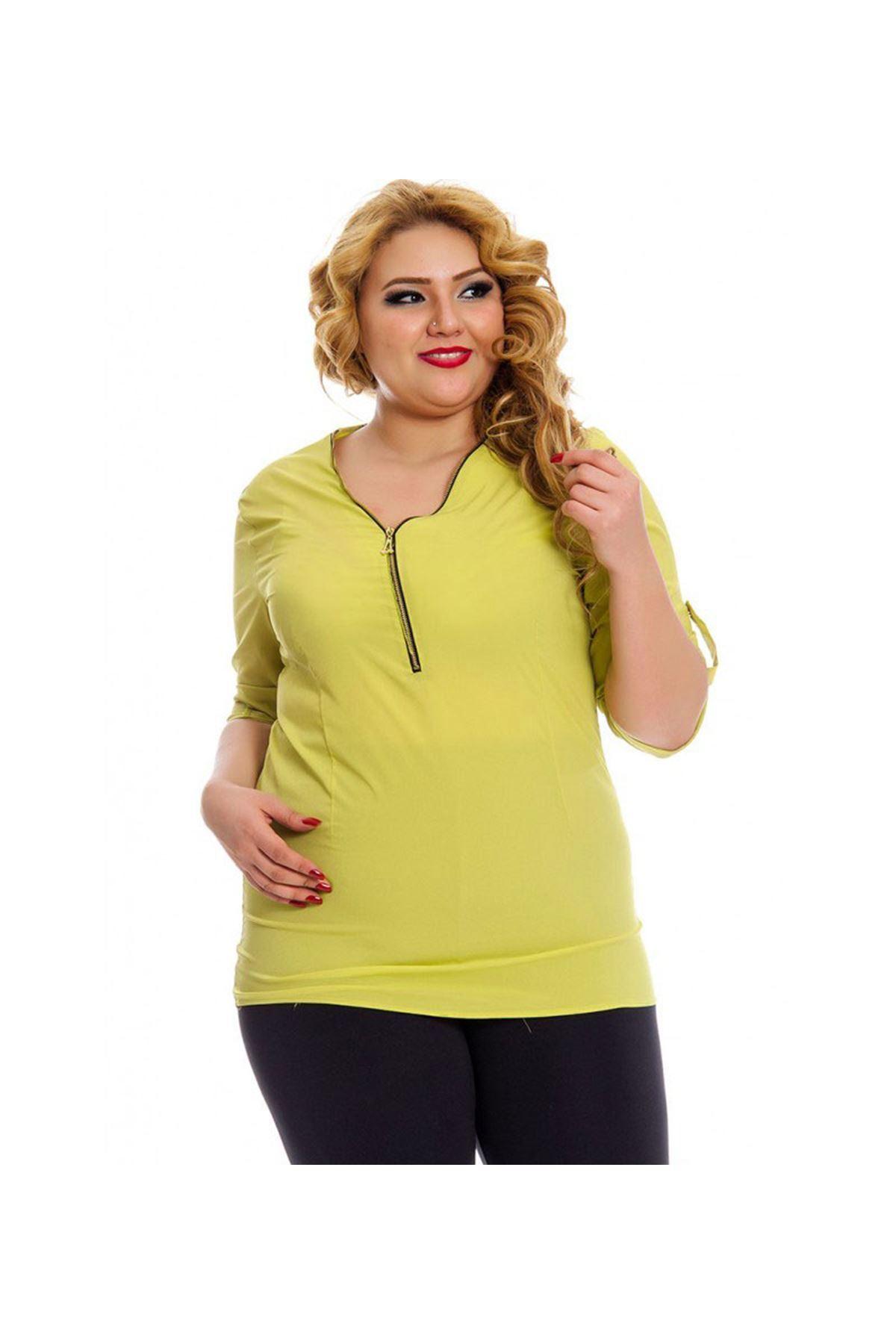 Büyük Beden Fıstık Yeşili Kadın Tunik G5-130950