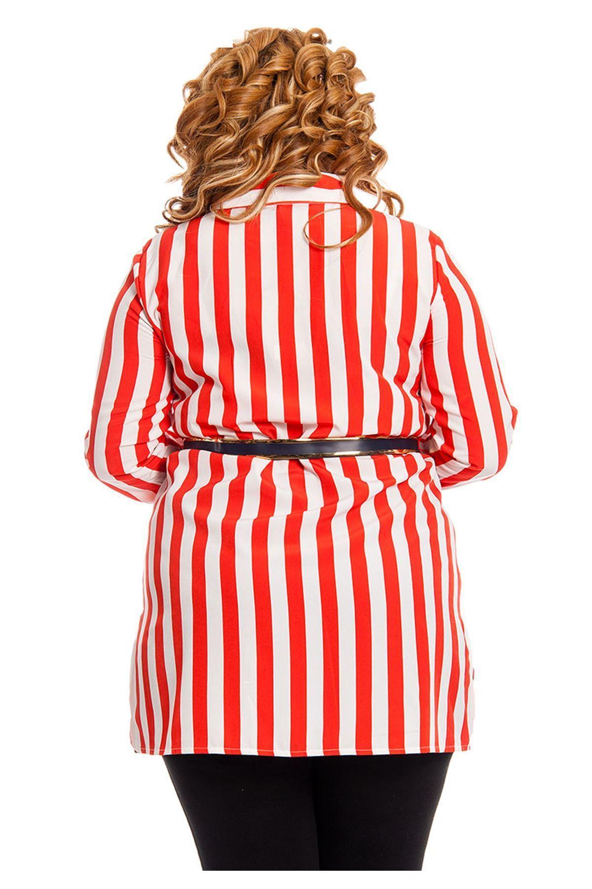Büyük Beden Kırmızı Beyaz Çizgili Kadın Tunik H7-130733