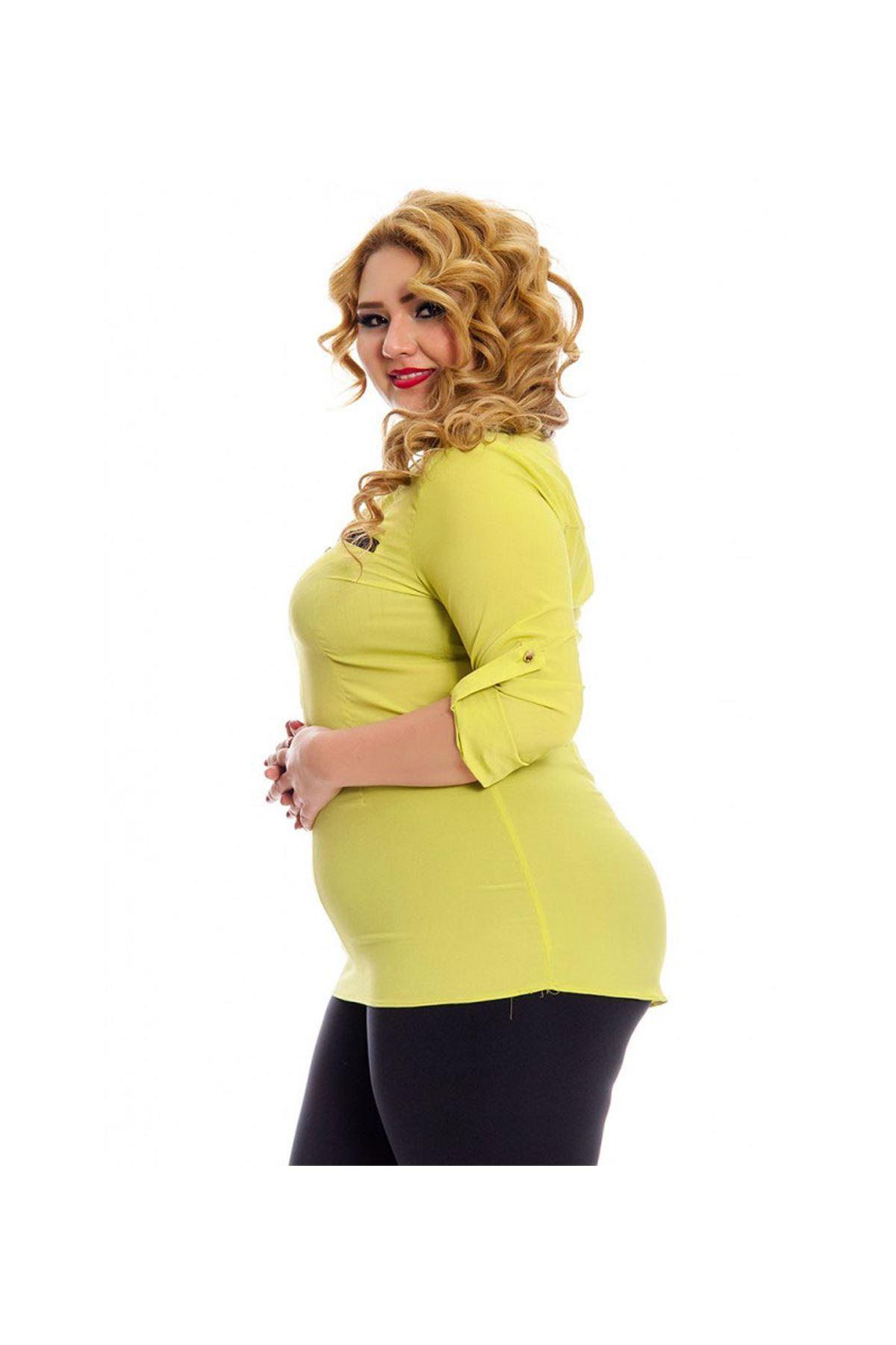 Büyük Beden Fıstık Yeşili Kadın Tunik G6-130946