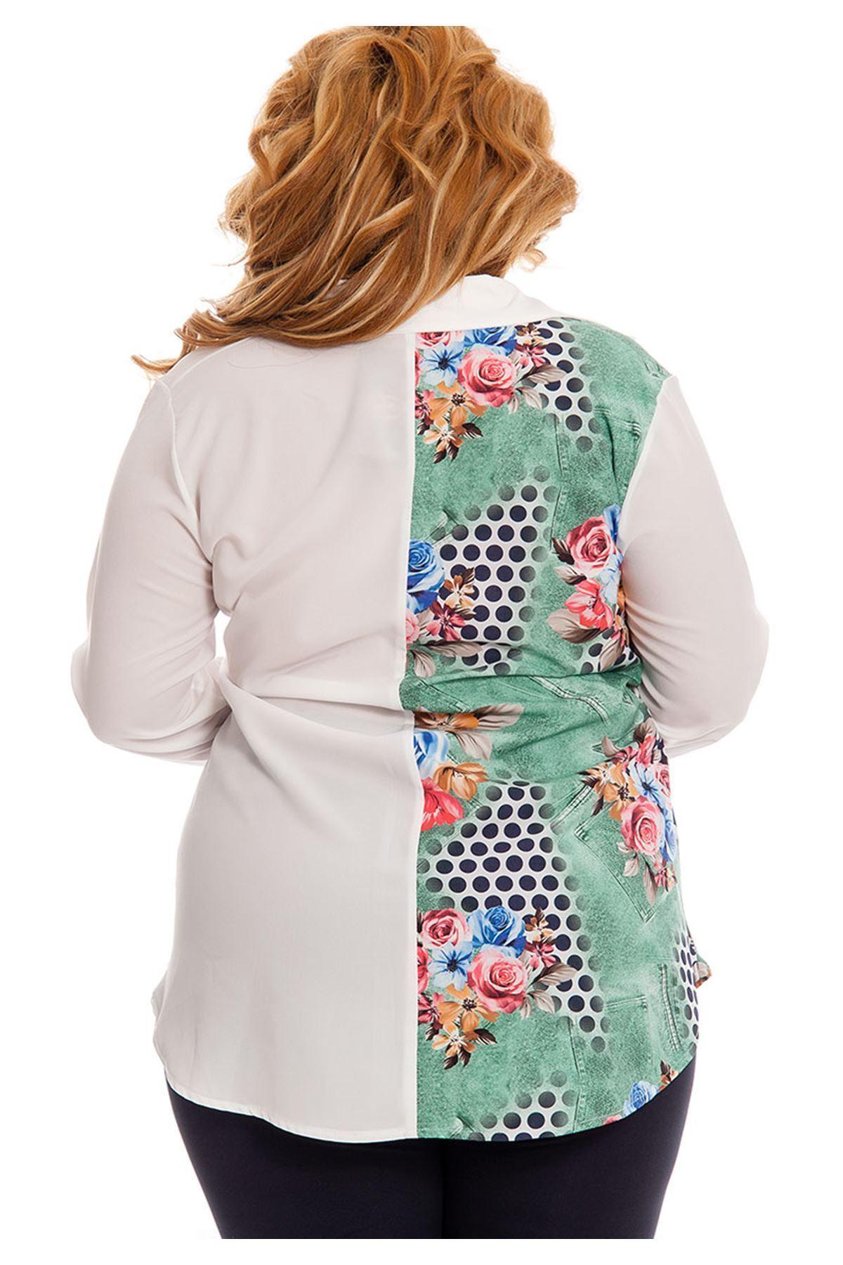 Büyük Beden Beyaz Desenli Kadın Tunik G5-130930