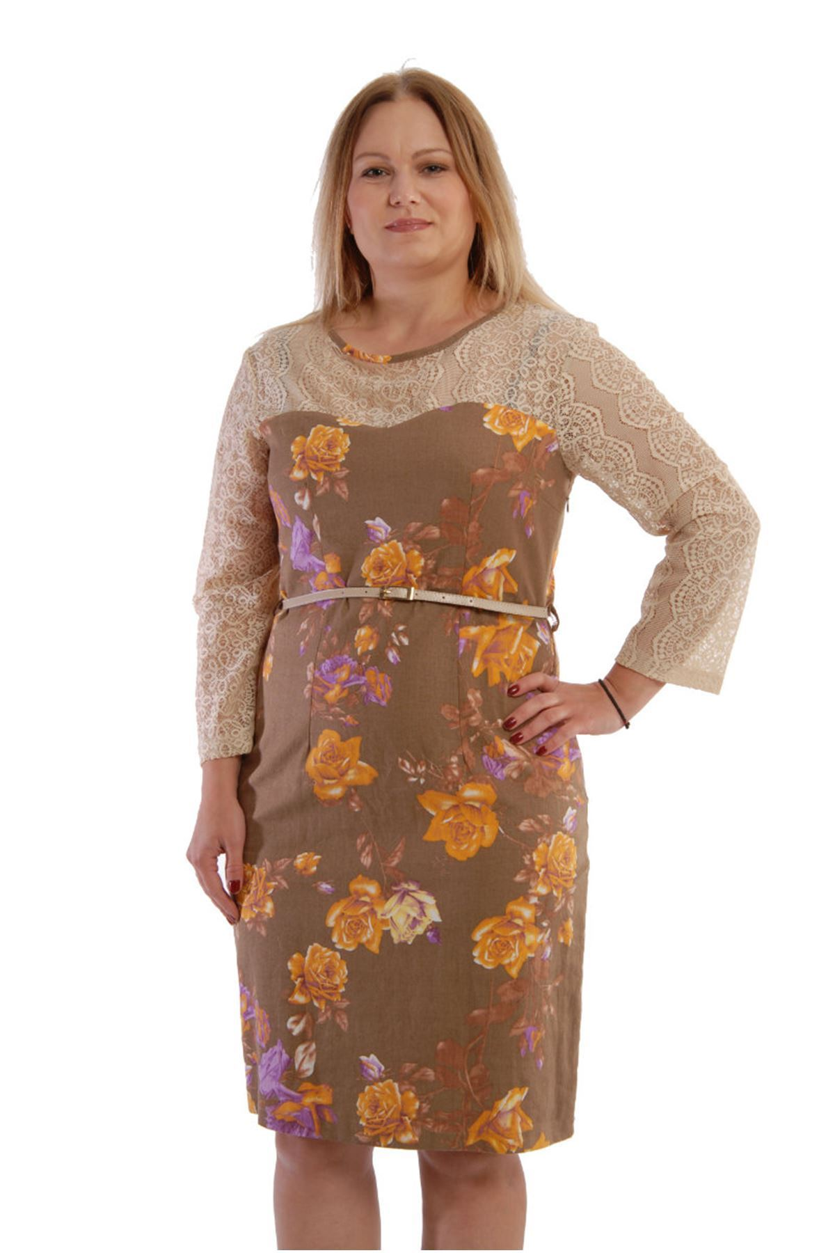 Büyük Beden Çiçek Desenli Elbise F6-52815