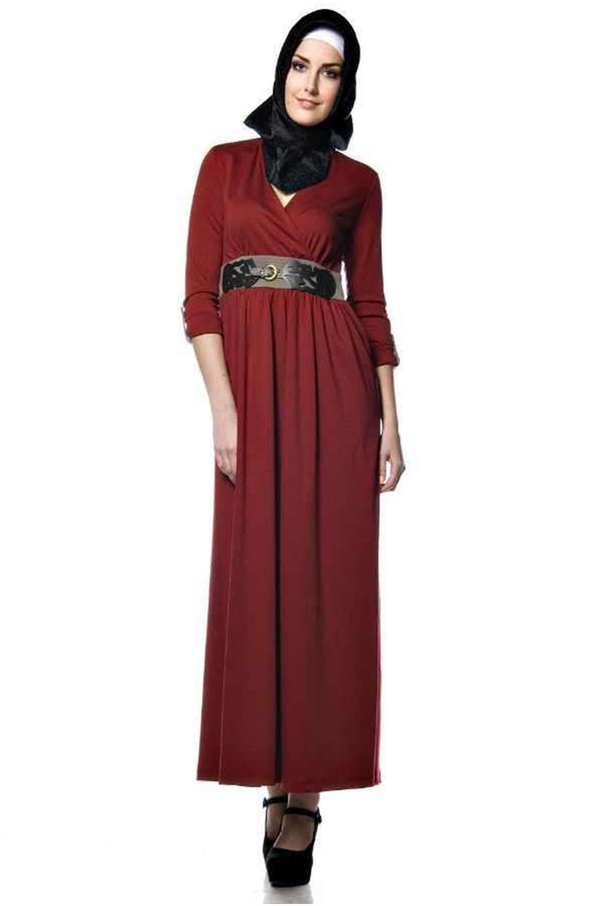 Bordo Uzun Elbise H1-54824