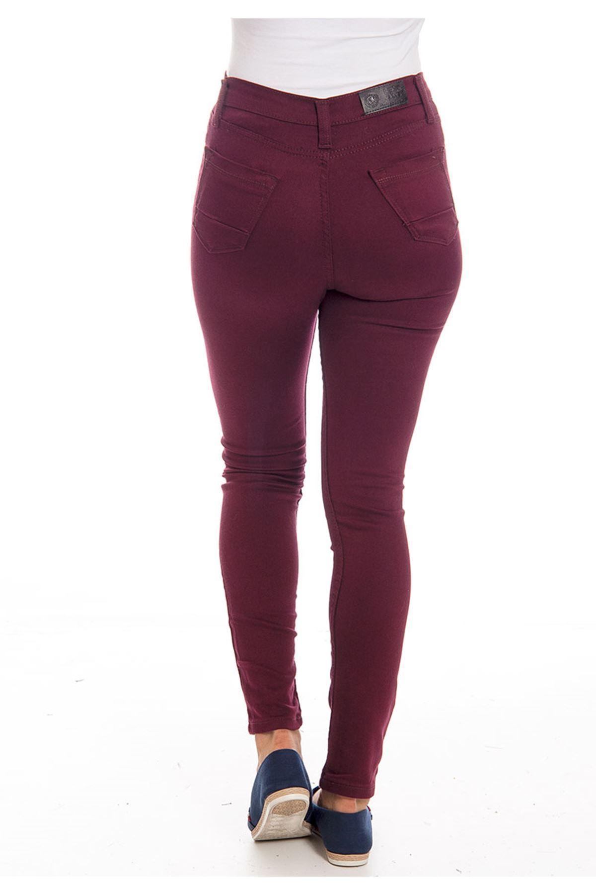 Bordo Dar Paça Yüksel Bel Kadın Pantolon 4A-126102