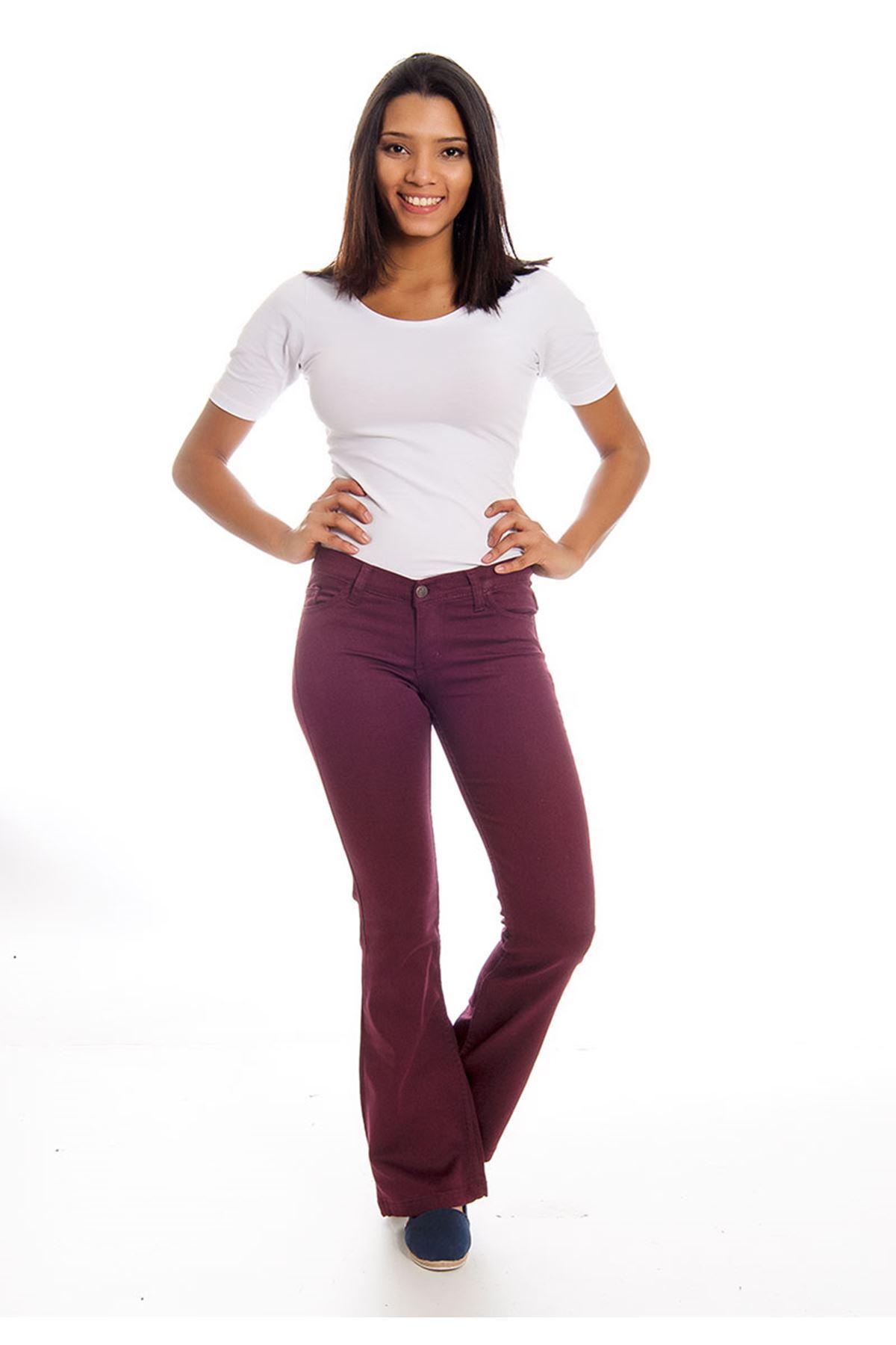 Bordo İspanyol Paça Kadın Pantolon 4A-126112