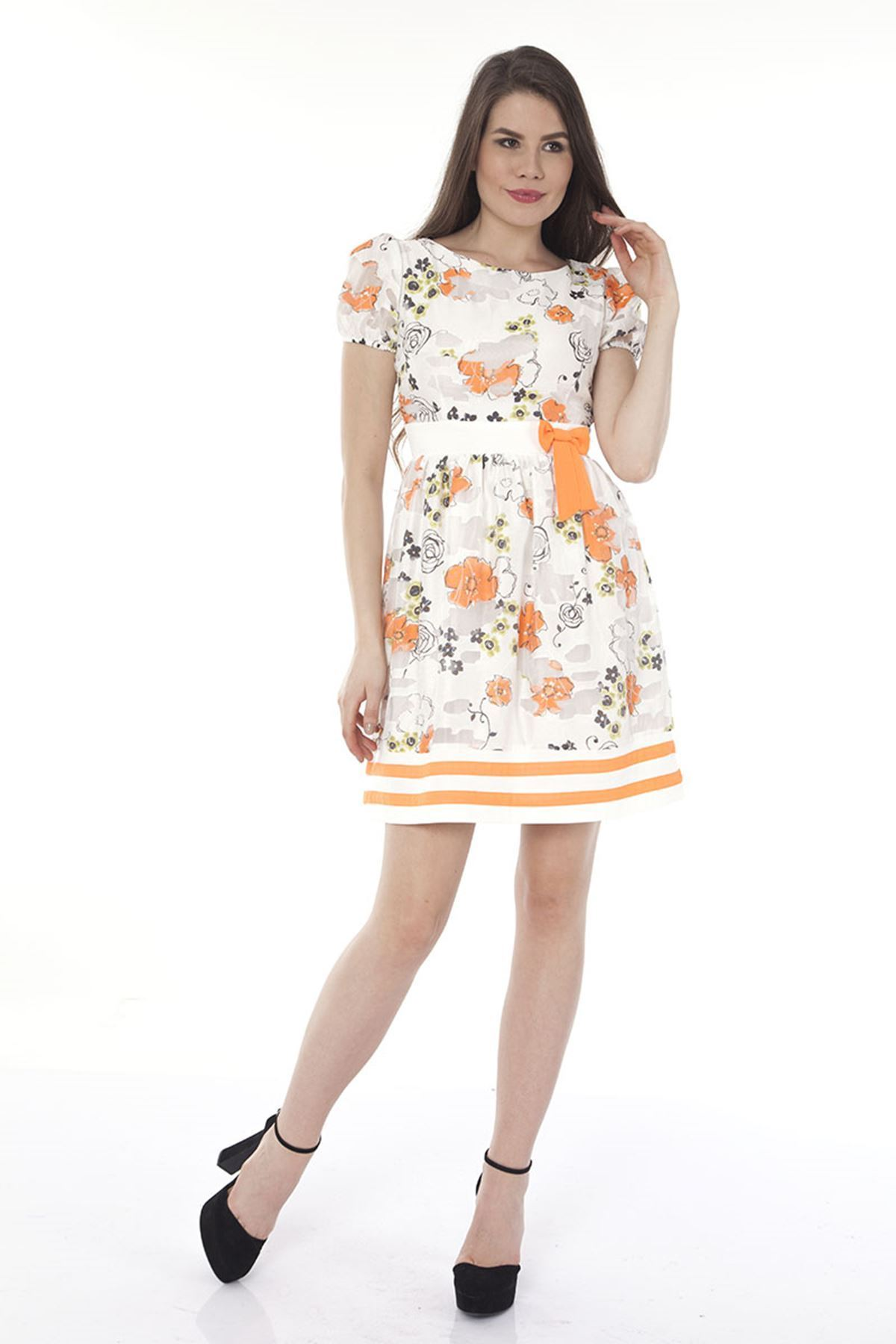 Beyaz Çiçekli Kadın Elbise K11-112568