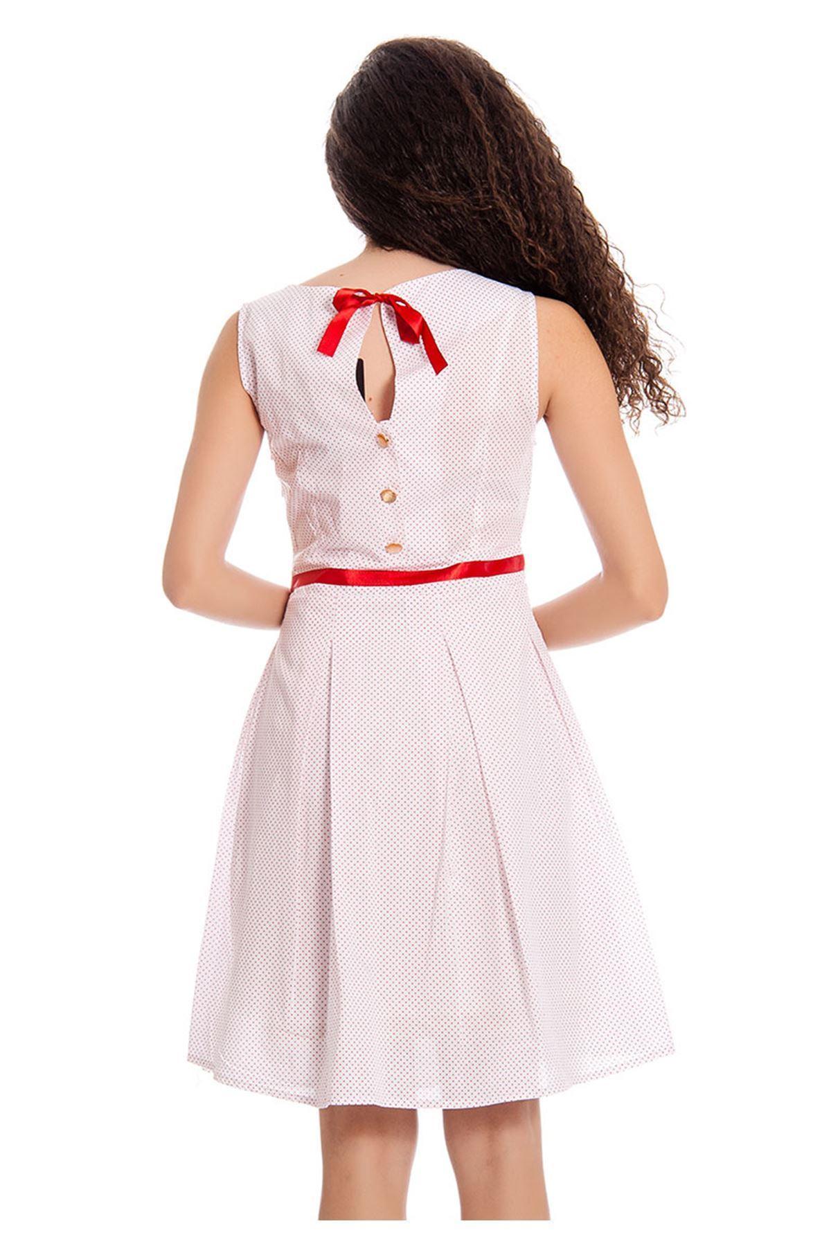 Beyaz Kırmızı Puanlı Kadın Elbise I6-131606