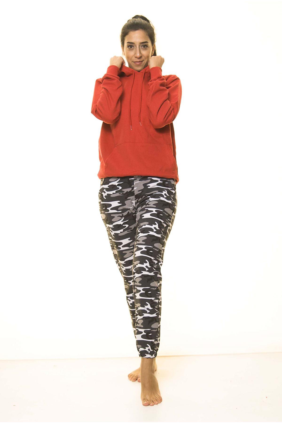 Kırmızı Kanguru Cep Kapüşonlu Boyfriend Örme Sweatshirt 4D-2087