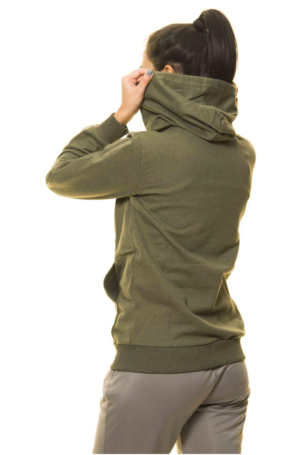Haki Yeşil Kanguru Cep Kapüşonlu Boyfriend Örme Sweatshirt 4D-2089
