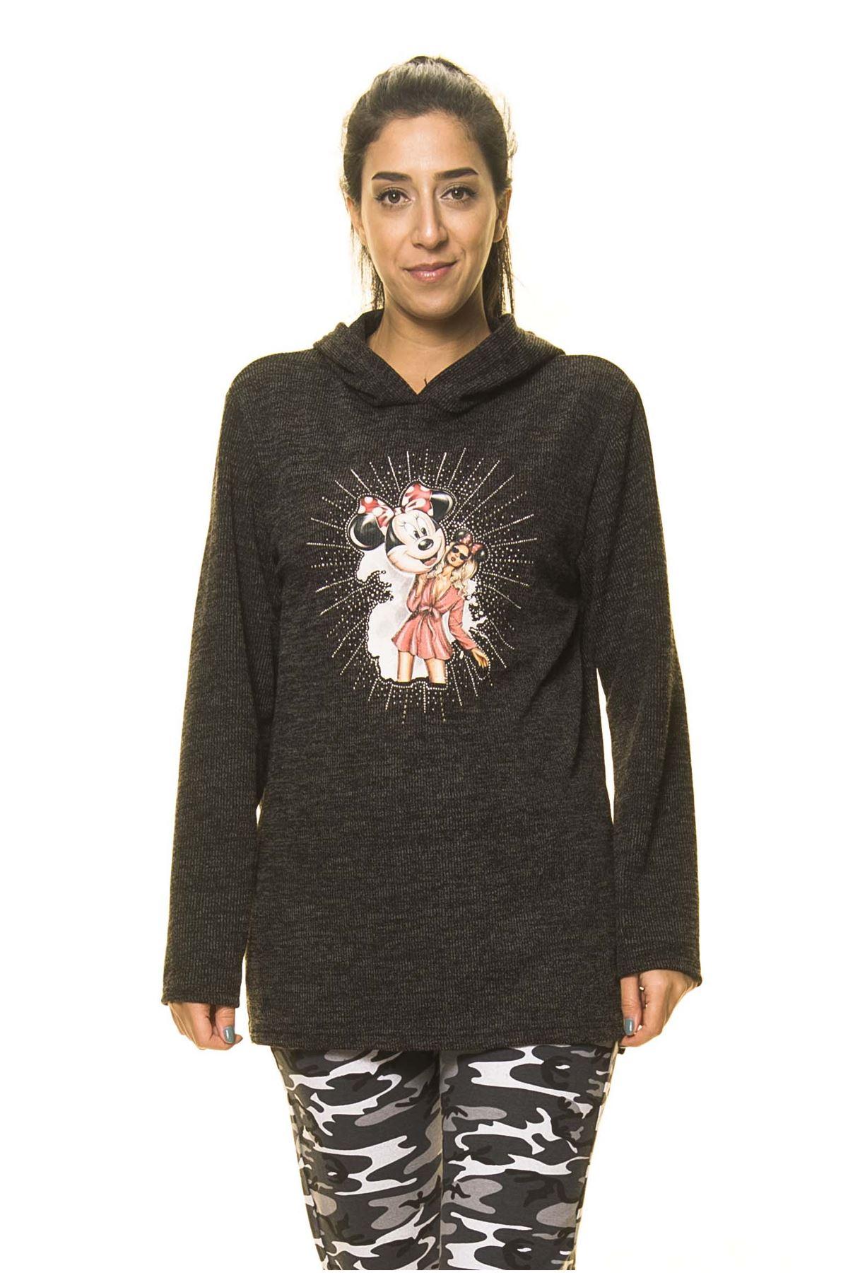 Kadın Antrasit Kapüşonlu Örme Sweatshirt K7-2091