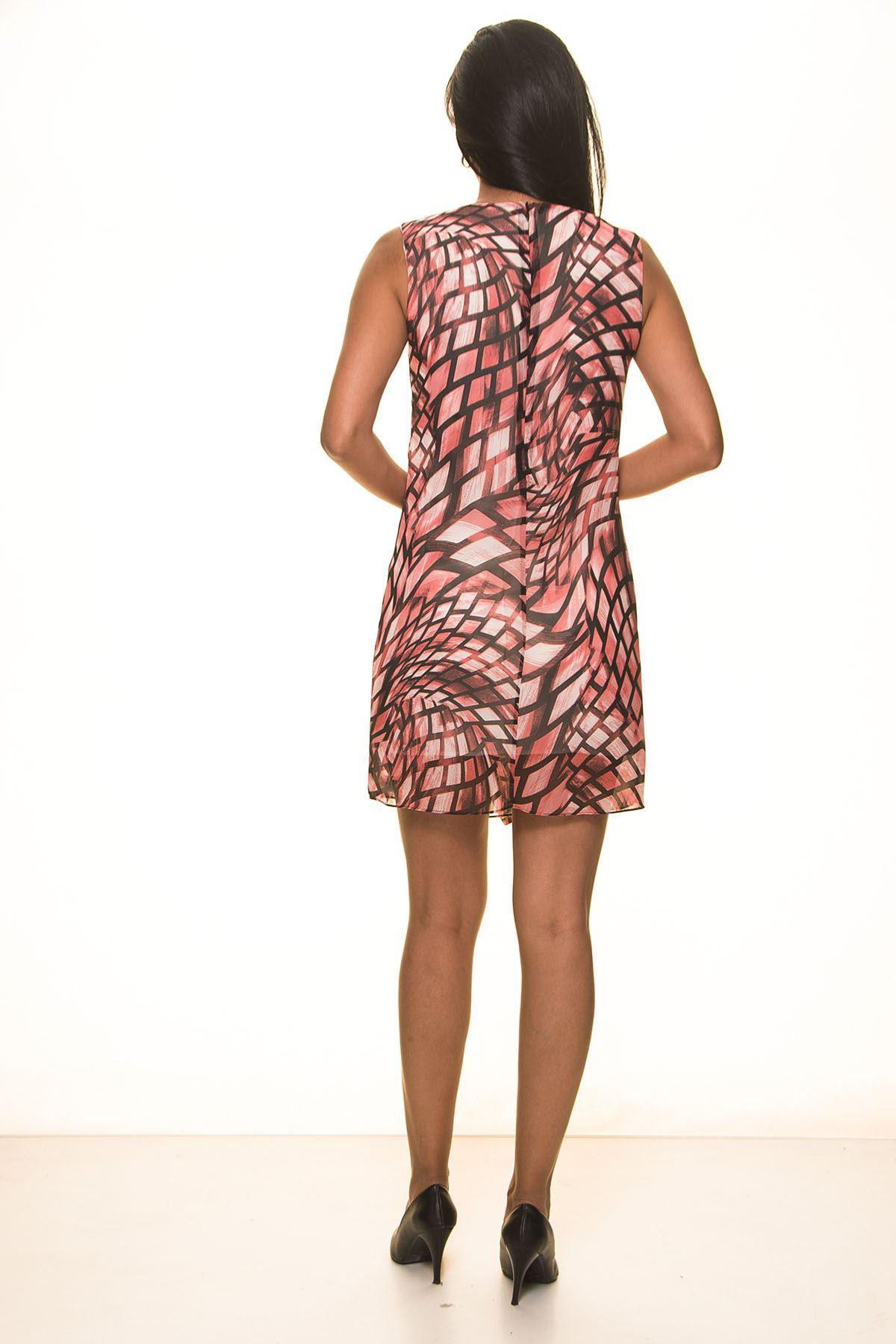 Mercan Şifon Yazlık  Elbise K7-2062