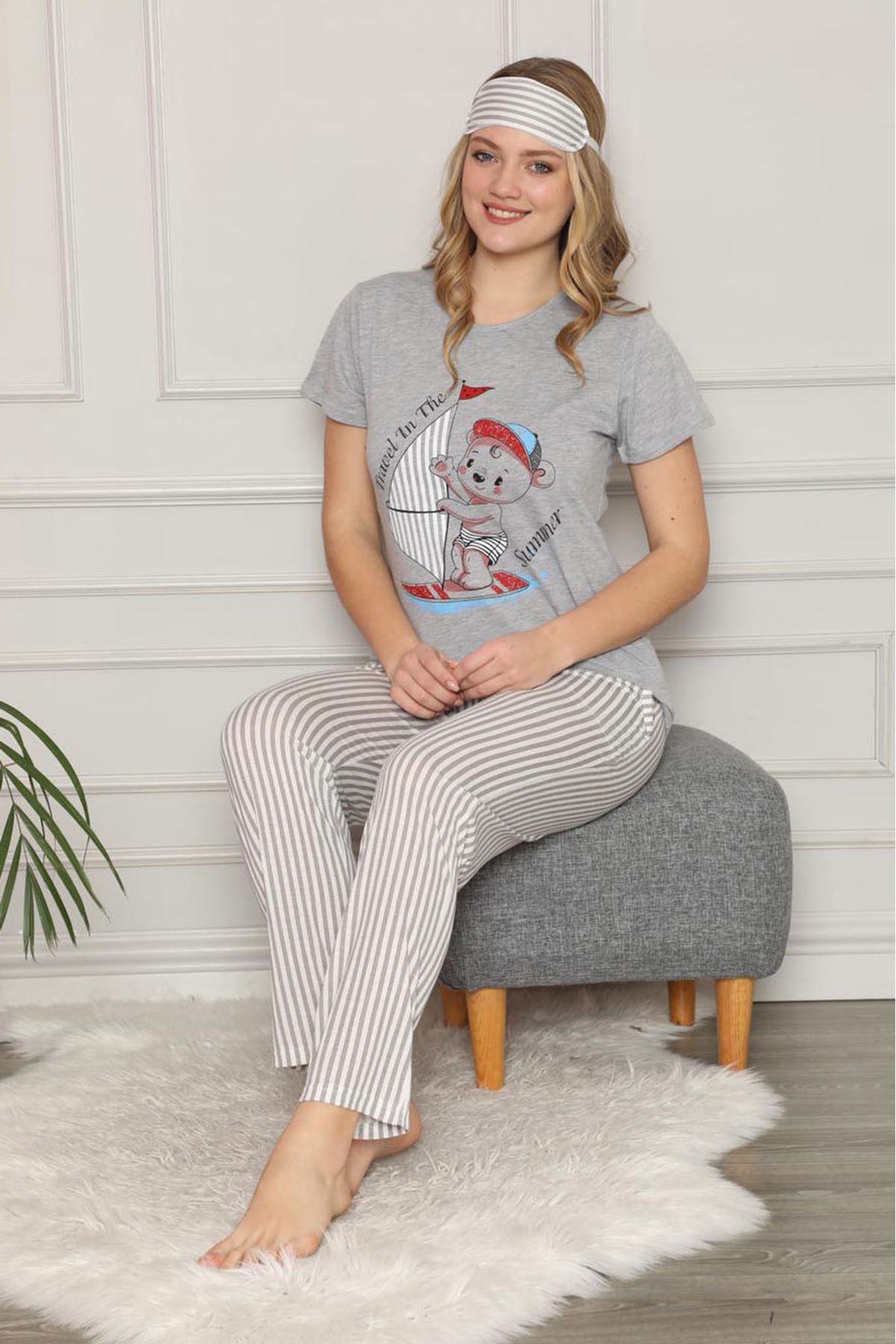 Kadın Gri Kısa Kol Pijama Takımı 3E-2541