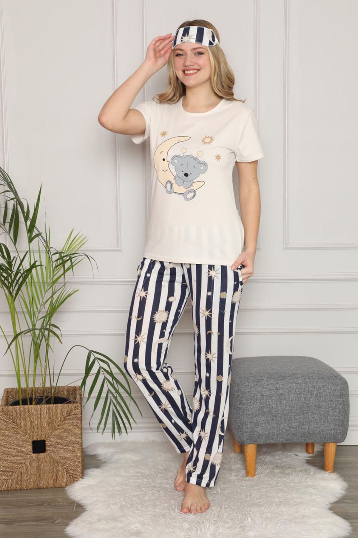 Kadın Krem Çizgili Kısa Kol Pijama Takımı 3E-2539L
