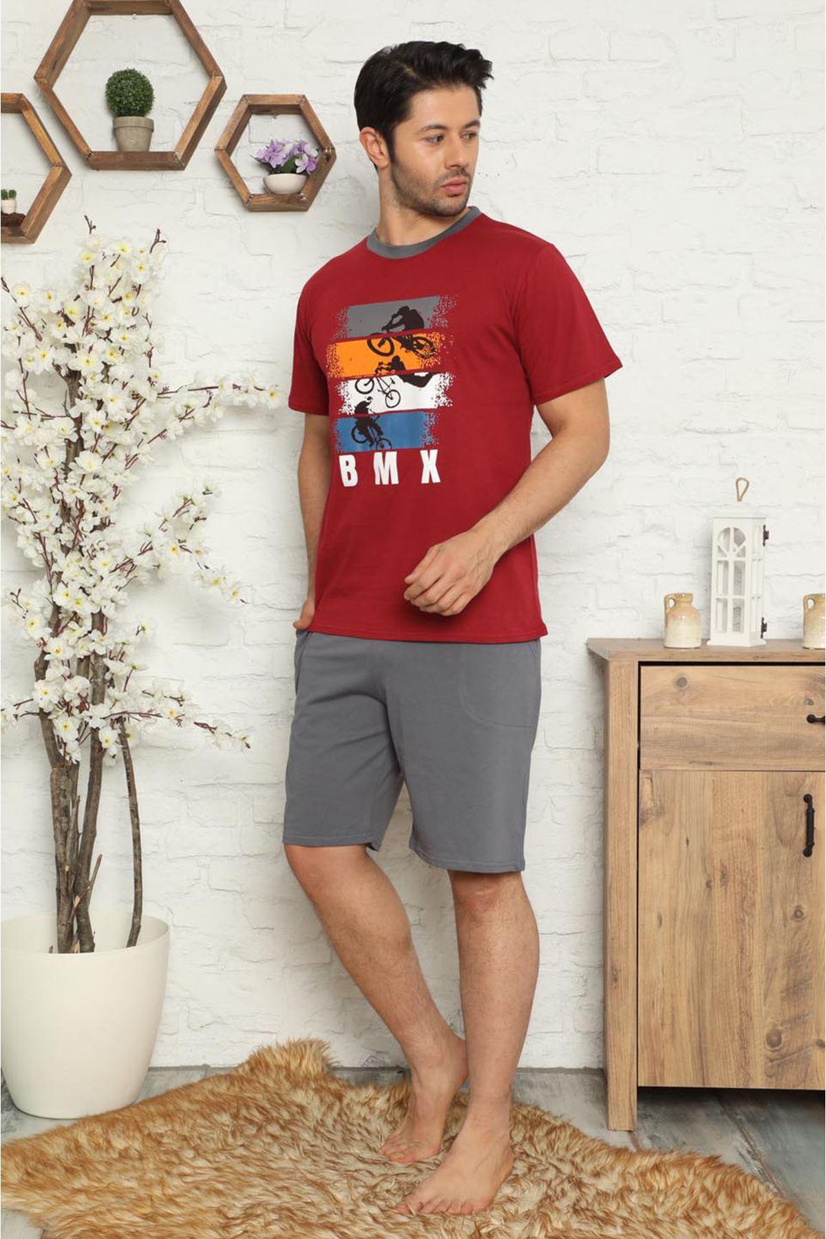 Erkek Şortlu Kısa Kollu Baskılı Pijama Takımı  3D-2517B