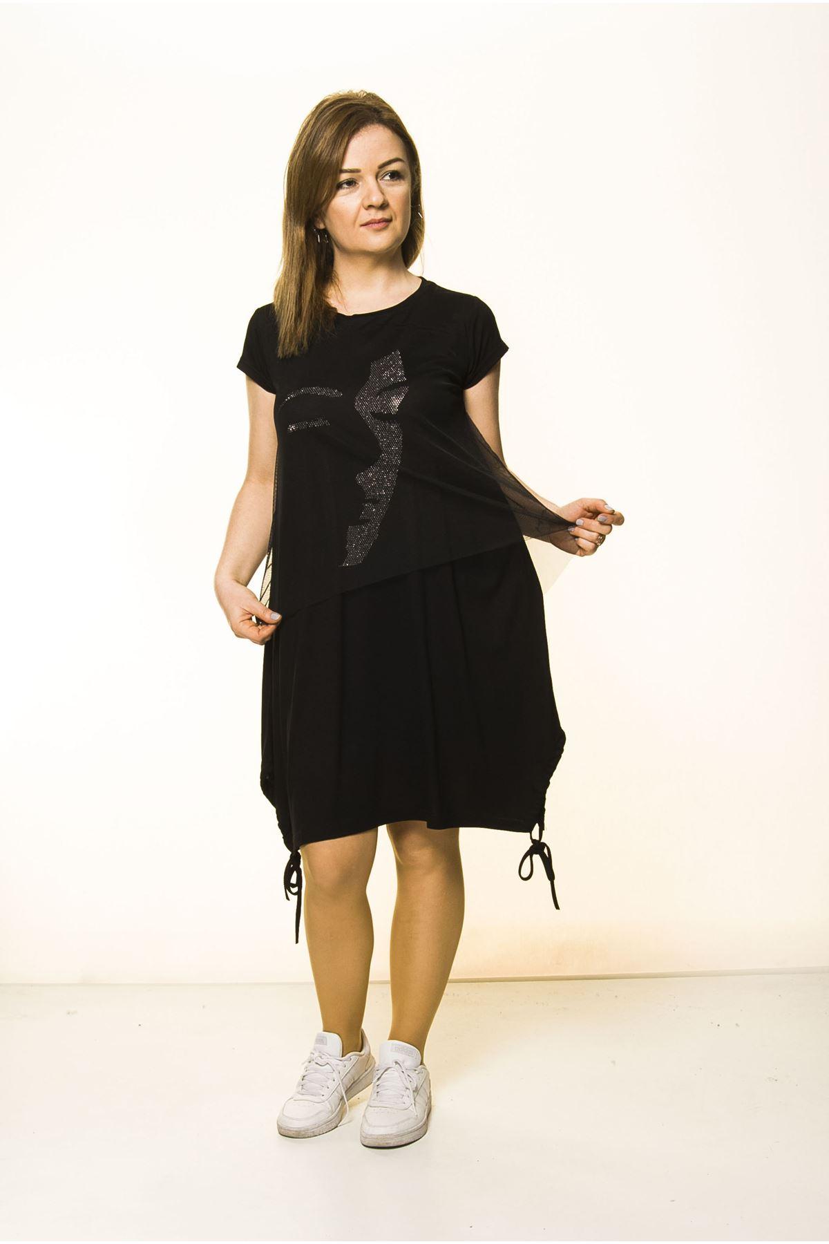 Siyah Kadın Spor Şık Elbise 5D-2097