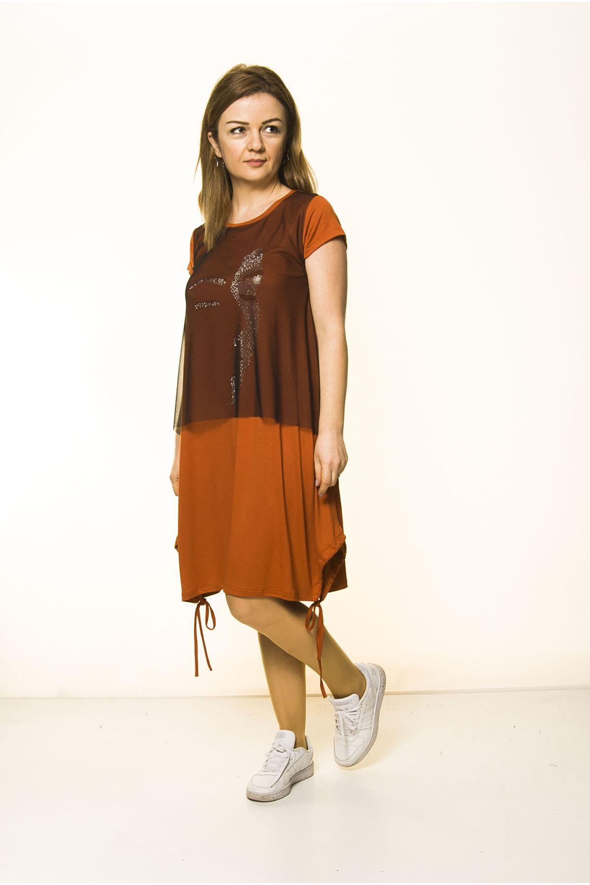 Kiremit Rengi Kadın Spor Şık Elbise 5D-2092