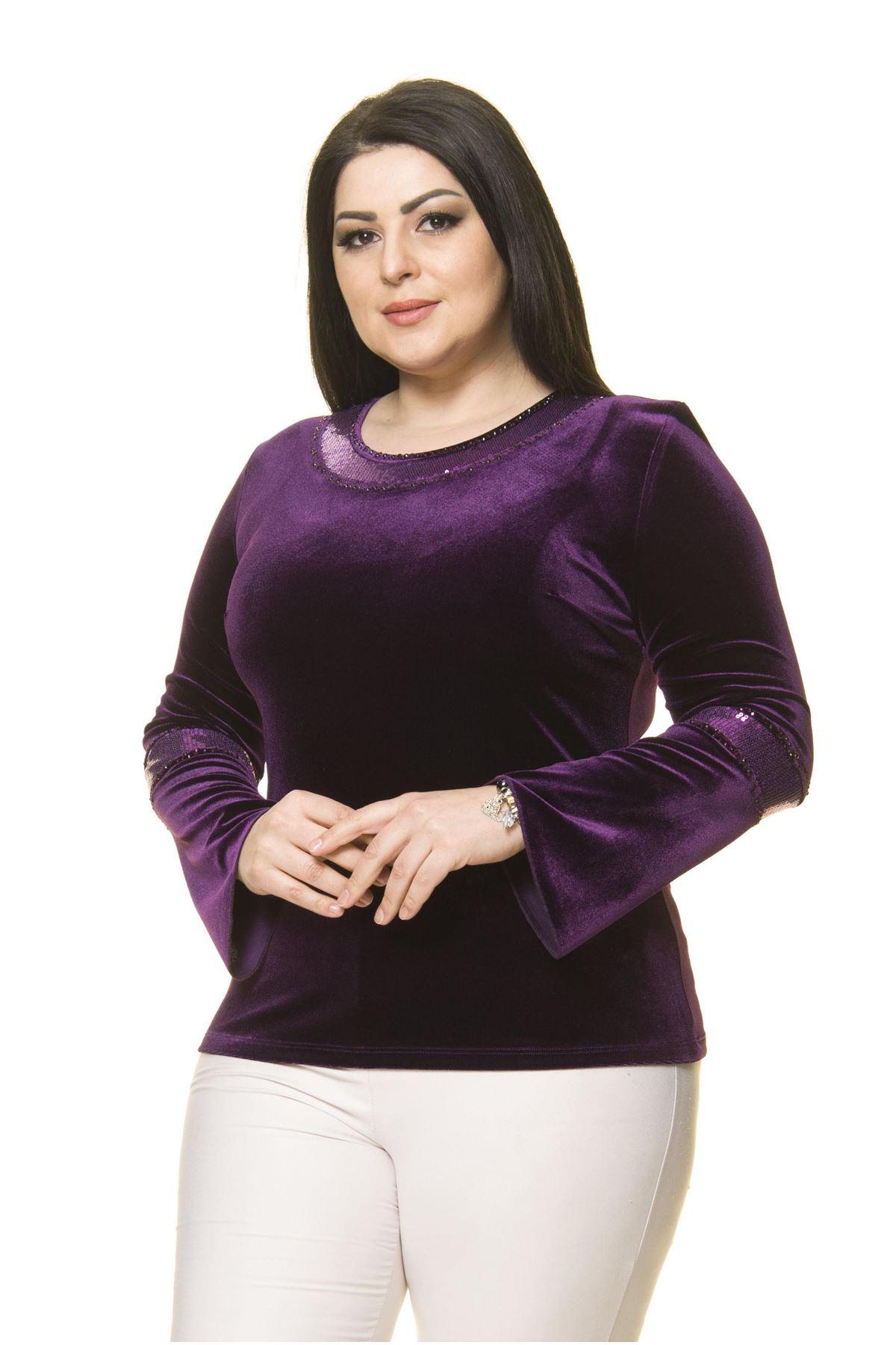 Kadın Büyük Beden Mor Taş  İşlemeli Kadife  Bluz A7-3020