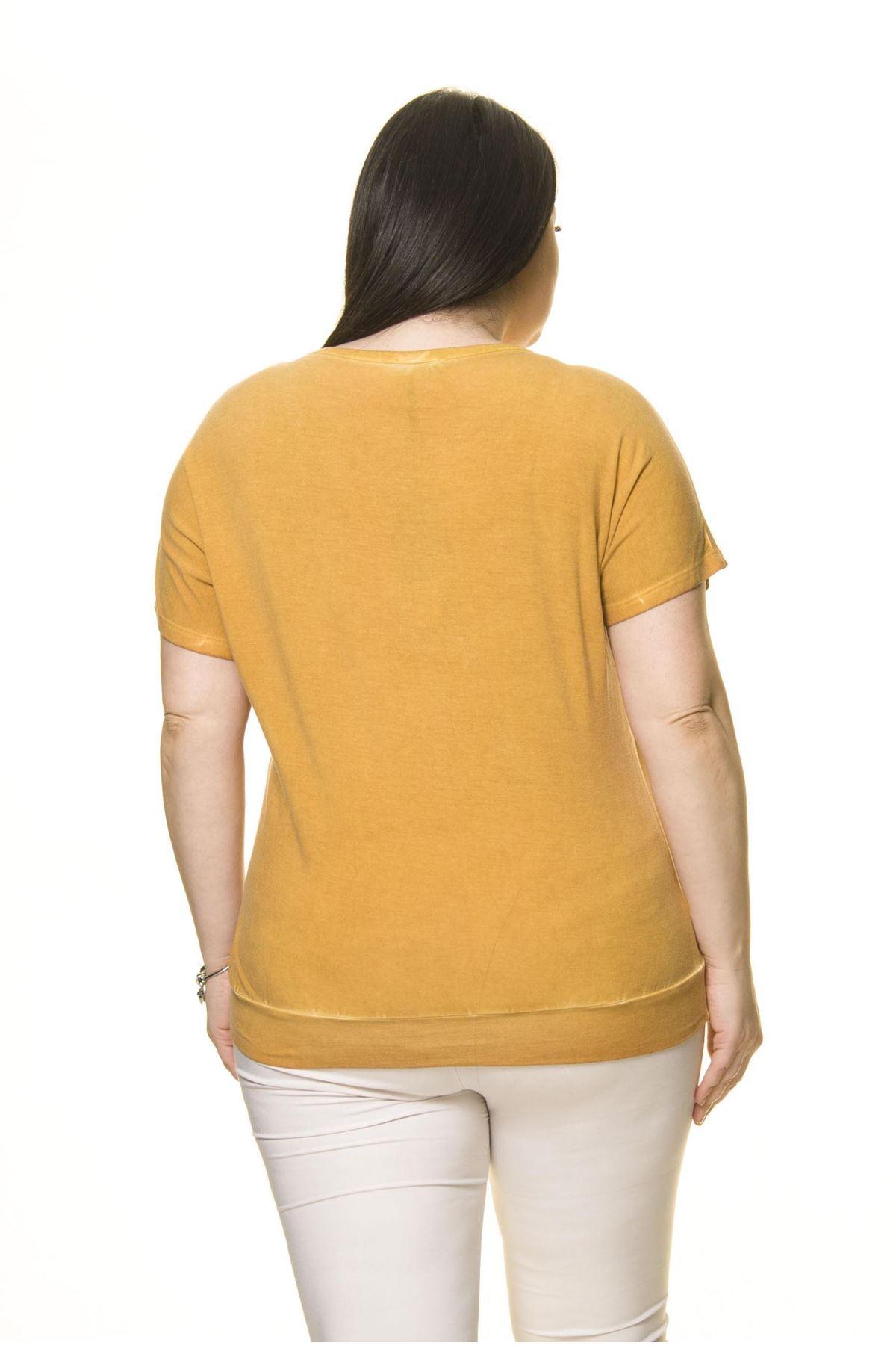 Kadın Büyük Beden Hardal Sarı Zımbalı  Bluz A7-3023-1