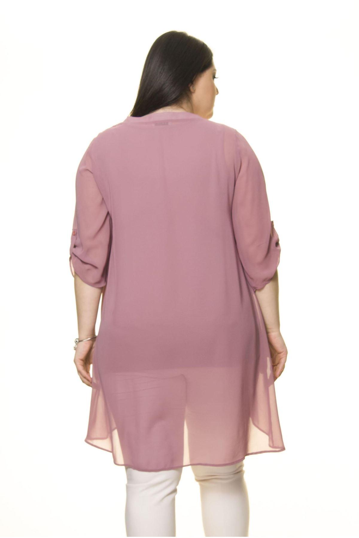 Kadın Büyük Beden Gül Kurusu İşlemeli Nakışlı Tunik  A7-3026