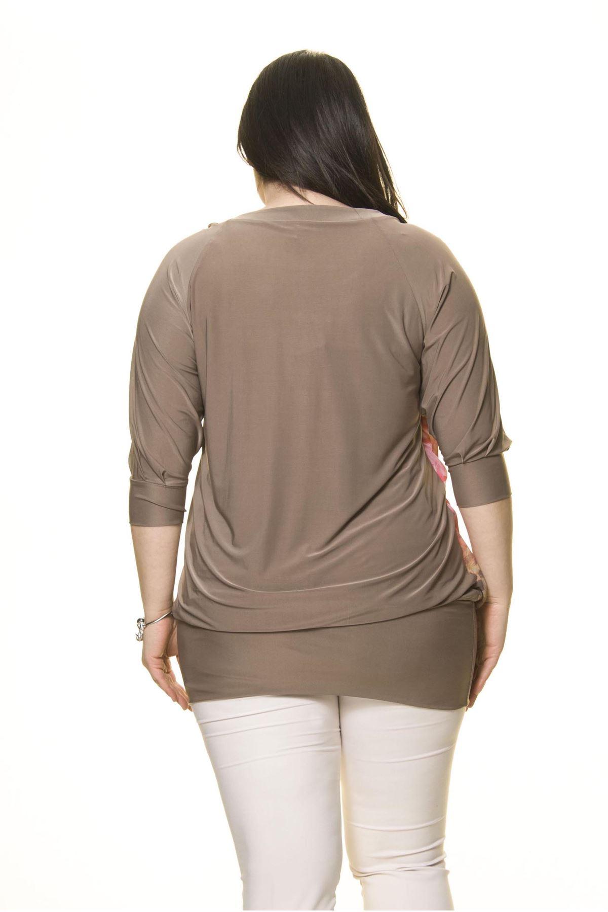 Kadın Büyük Beden Vizon Şifon Parçalı Bluz  A1-3006