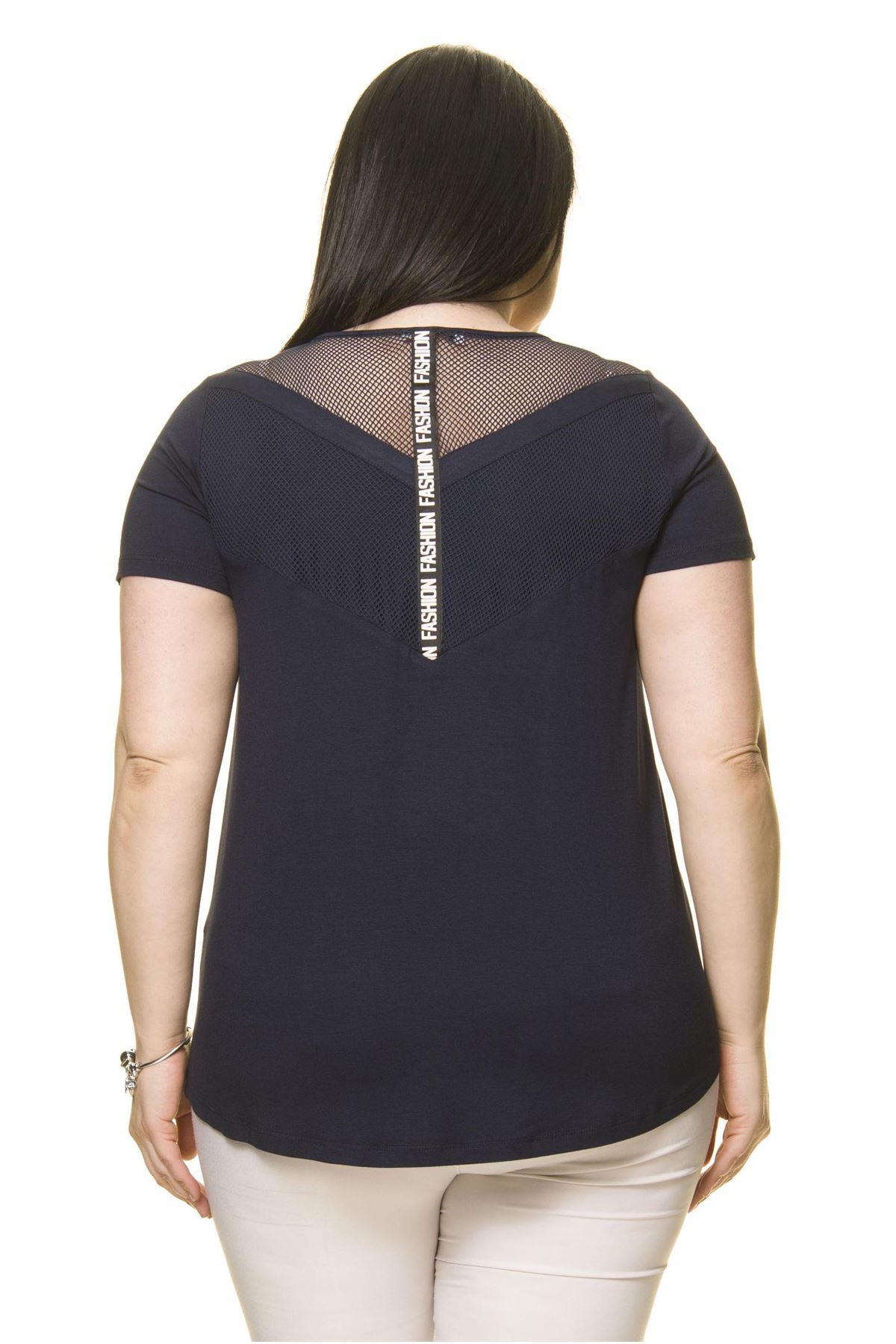 Kadın Büyük Beden Lacivert Spor Bluz  A4-3010