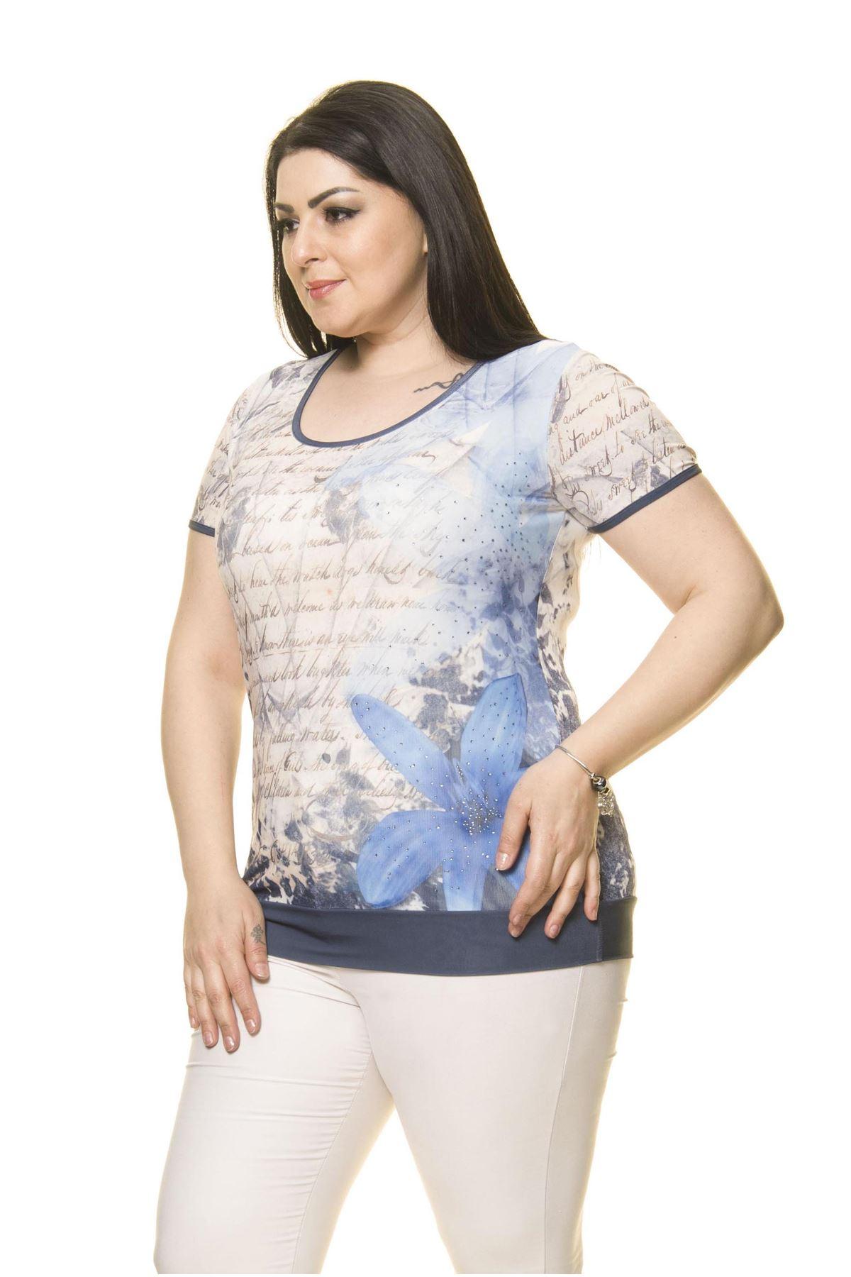 Kadın Büyük Beden Mavi Body  A6-3018