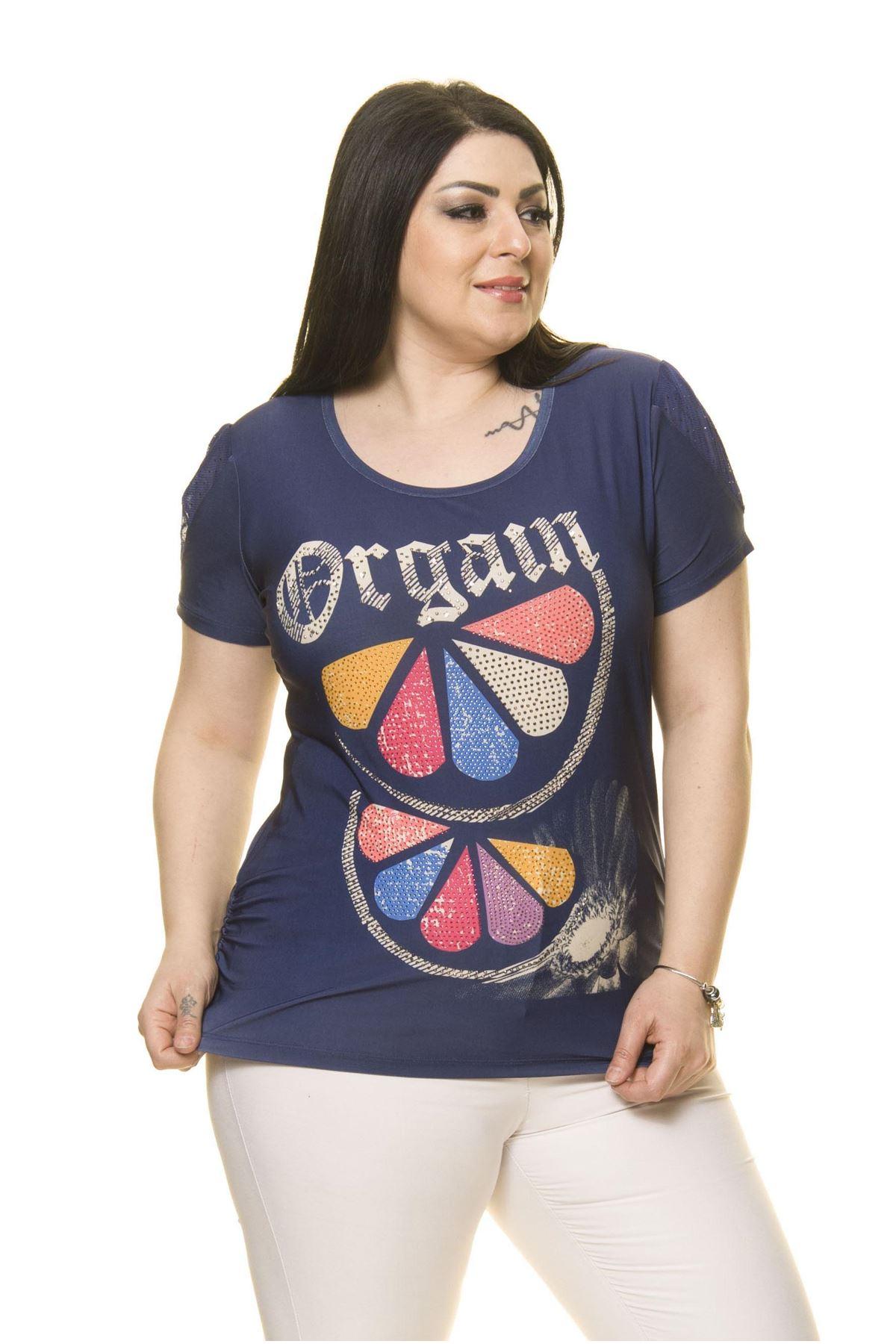 Kadın Büyük Beden Lacivert Bluz  A6-3014