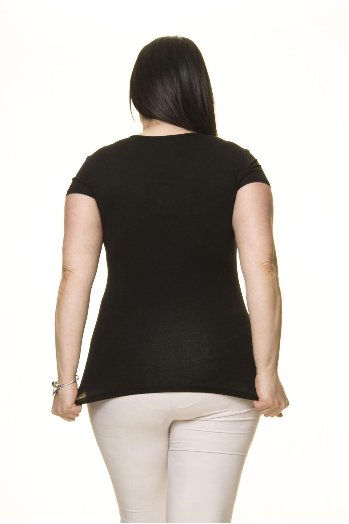 Kadın Büyük Beden Siyah Taş İşlemeli Tül Detaylı Body 15E-70007