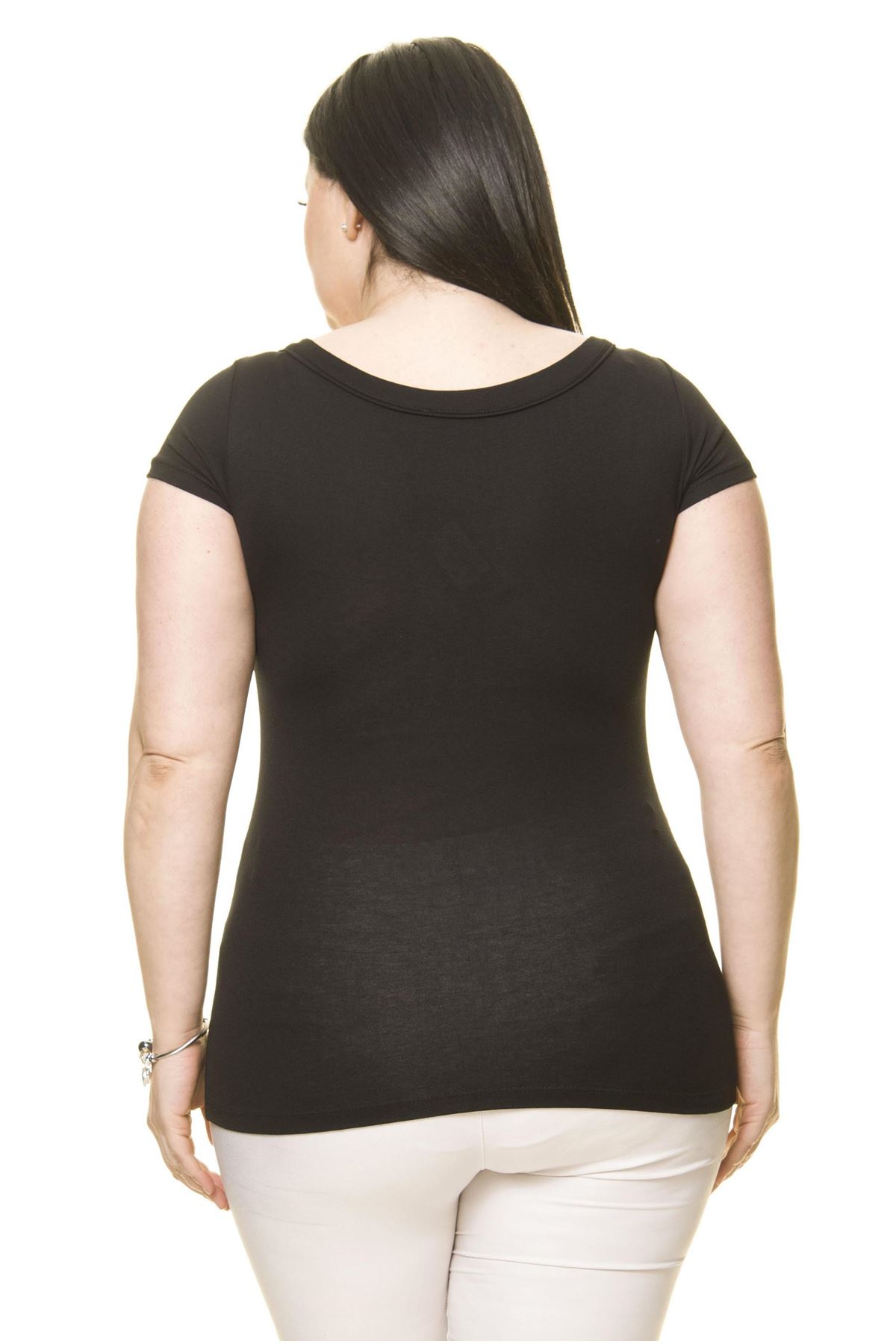 Kadın Büyük Beden Siyah İncili Taş İşlemeli Body 17E-70013-1