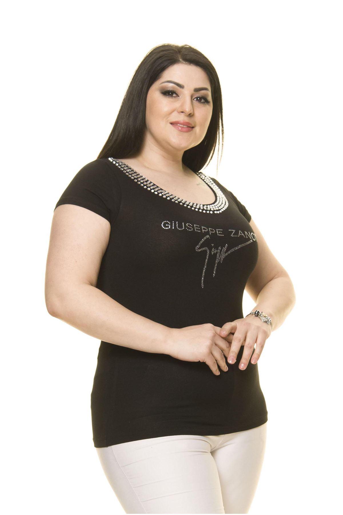 Kadın Büyük Beden Siyah Taş İşlemeli Body 17C-3005