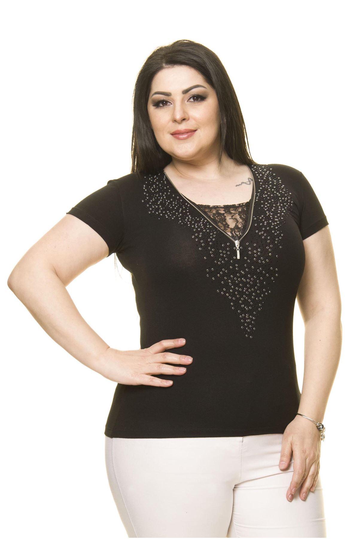 Kadın Büyük Beden Siyah Taş İşlemeli Fermuarlı Body 16C-70008