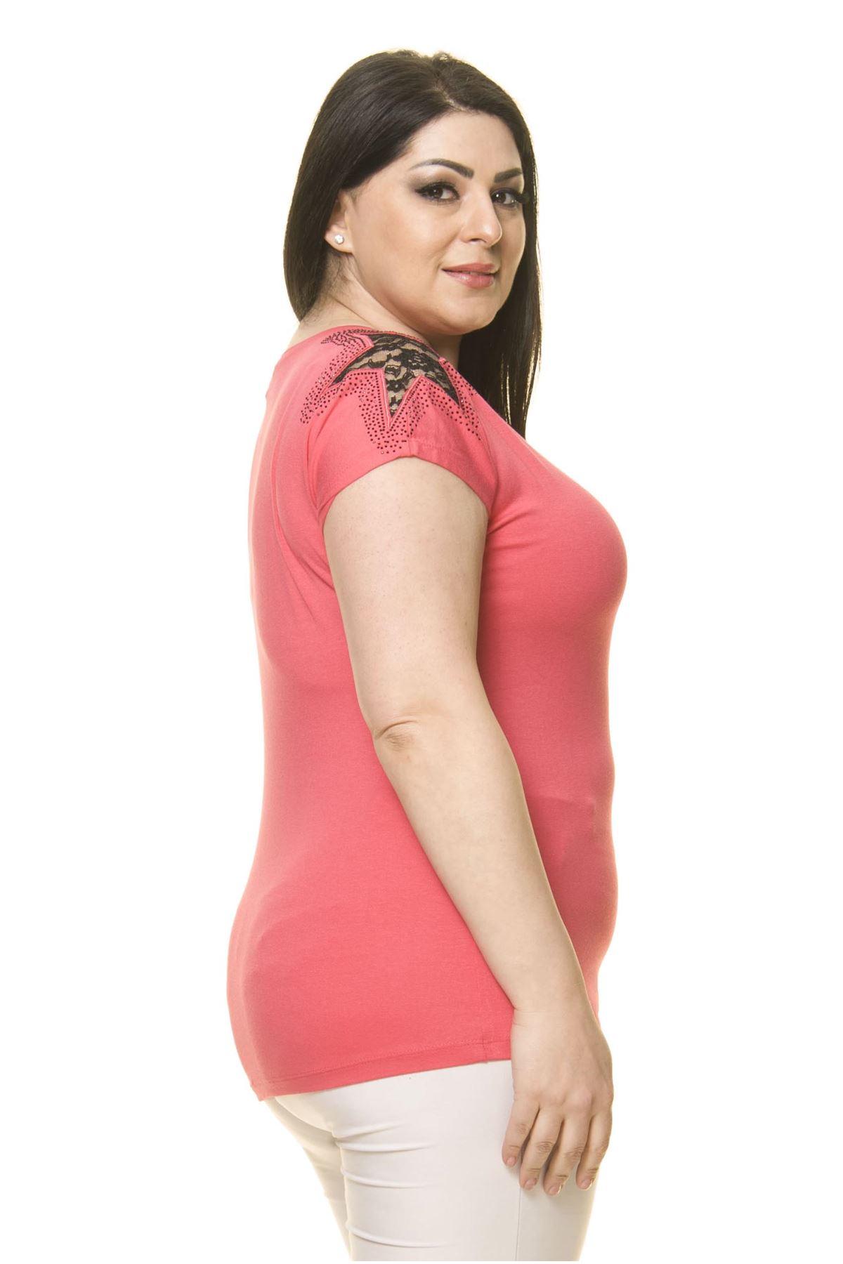 Kadın Büyük Beden Pembe Omuz Detaylı Body 17E-70015