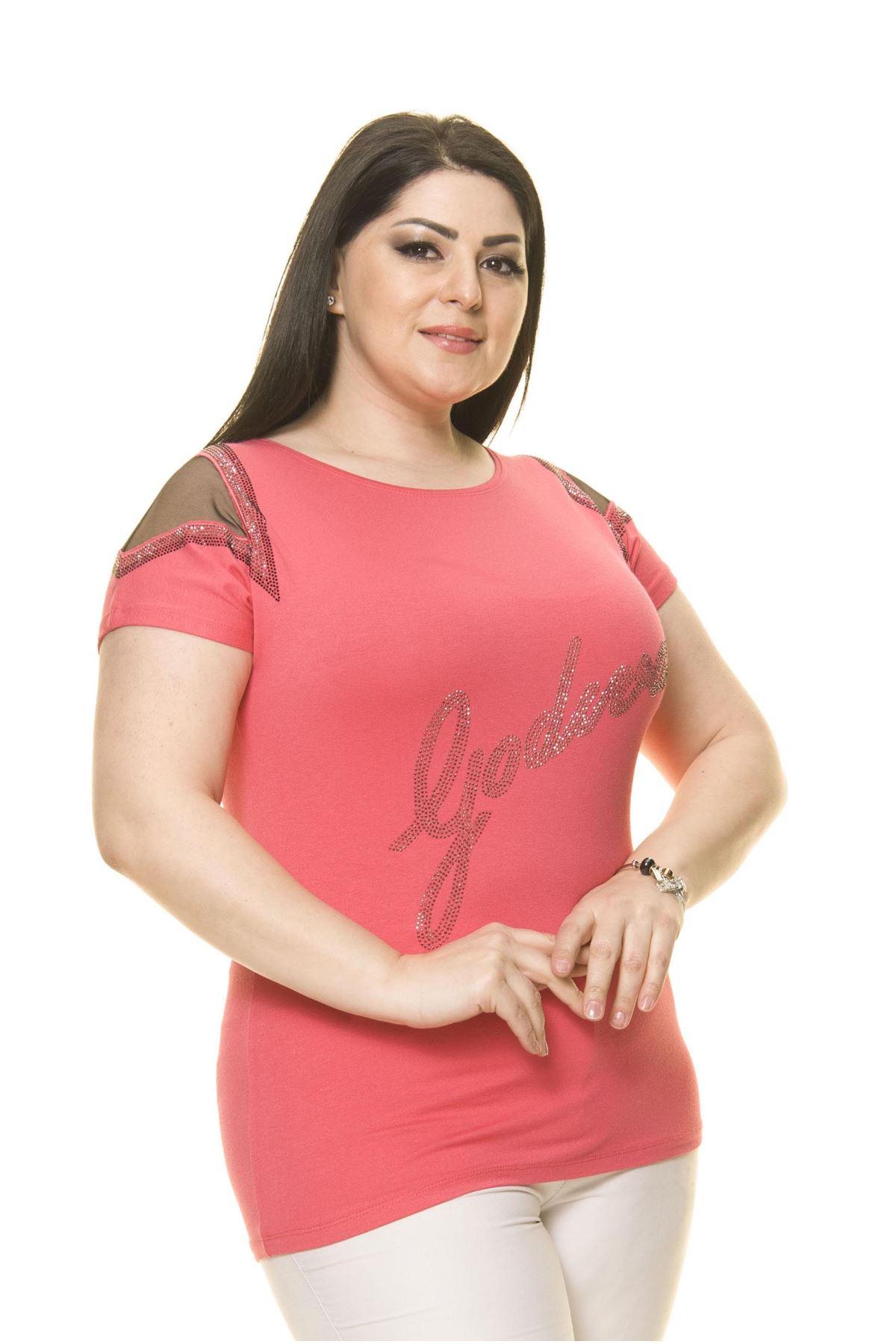 Kadın Büyük Beden Pembe Taşlı Bluz 16D-70016