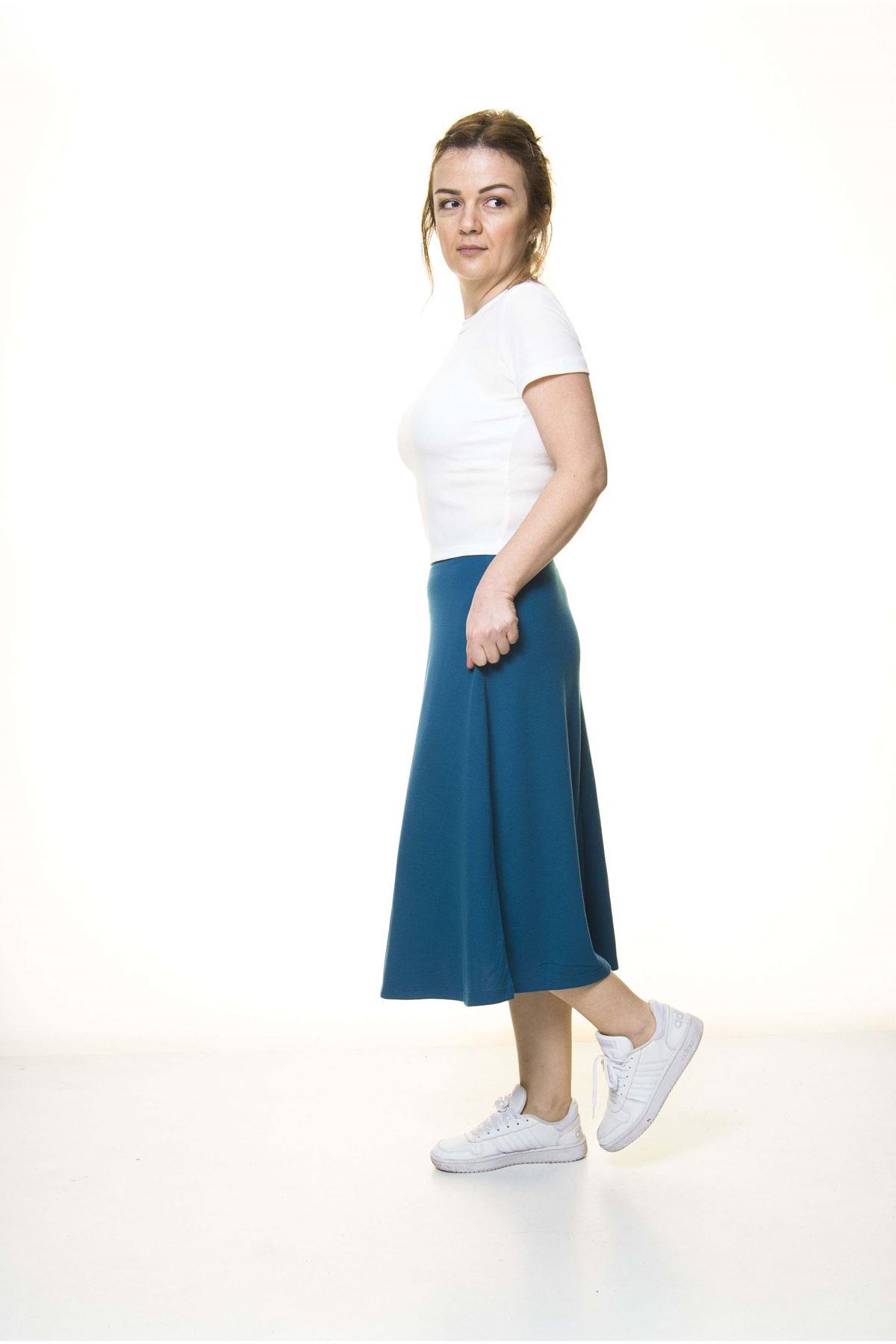 Kadın Petrol Mavisi Penye Esnek Etek  11C-3054