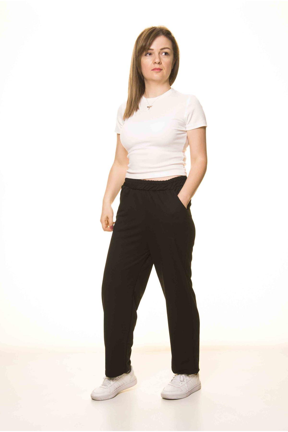 Kadın Siyah Normal Paça  Eşofman Altı 5D-3074