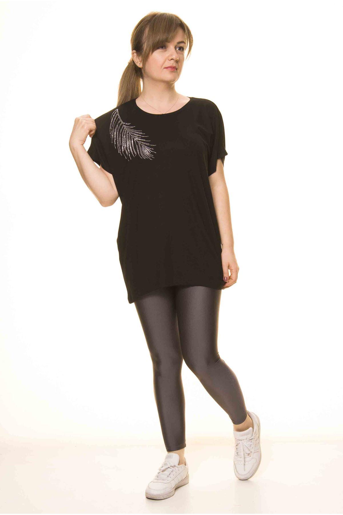 Kadın Siyah Taş İşlemeli Bluz 14D-30601