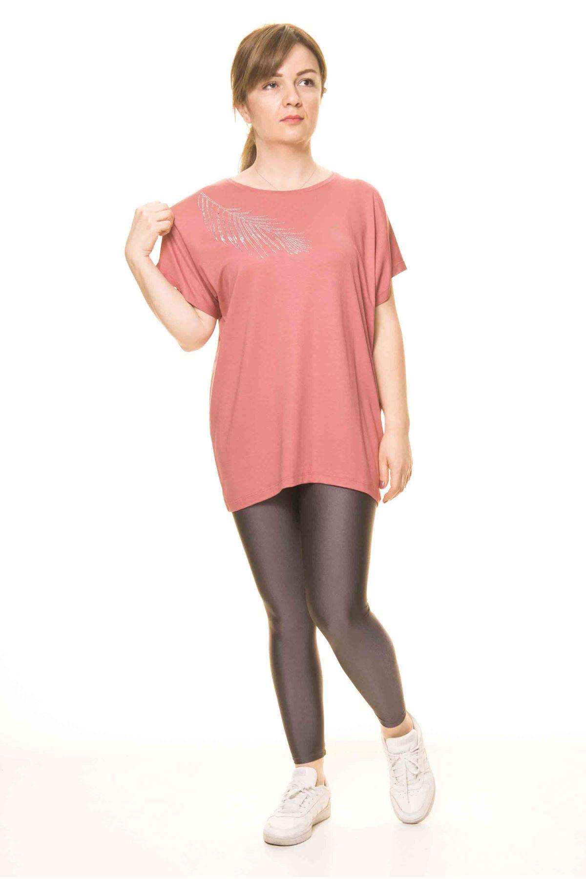 Kadın Pudra Taş İşlemeli Bluz 14D-306012