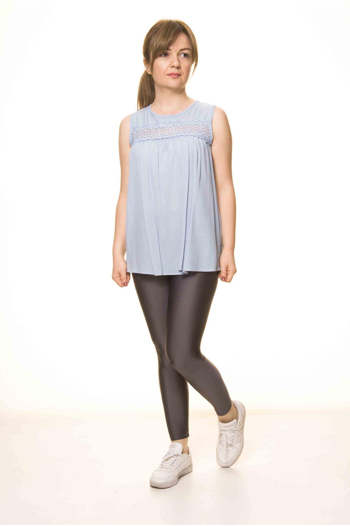 Kadın Bebe Mavi Dantelli Salaş Bluz 14D-3068-1