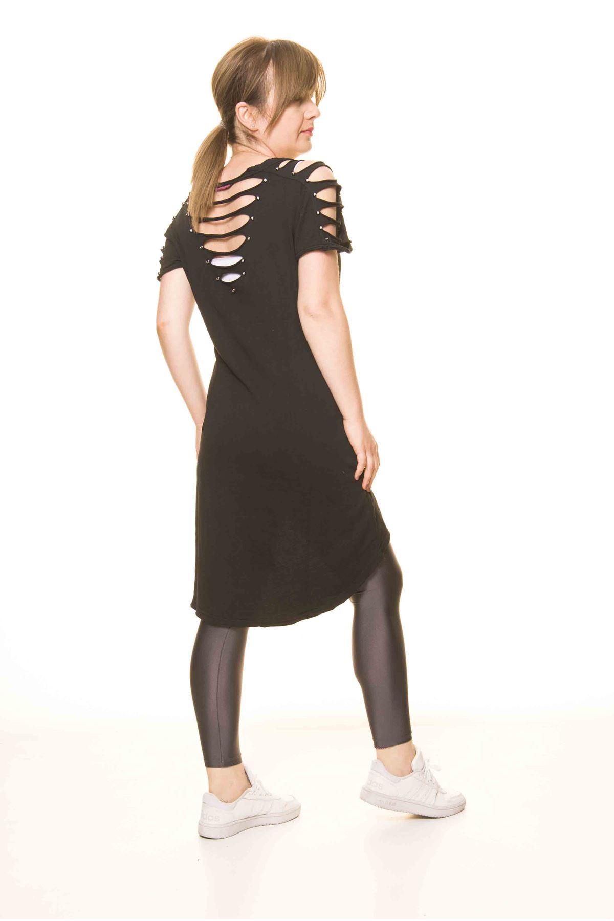 Kadın Siyah Yırtıklı Tarz Tunik  14D-3069-1