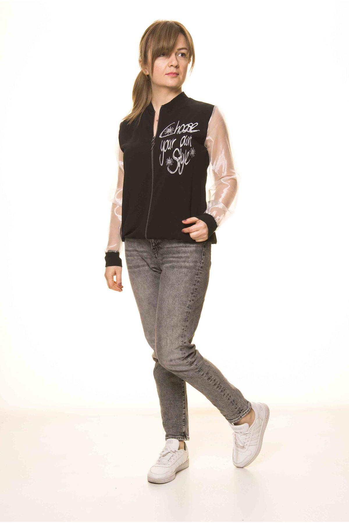 Kadın Siyah BeyazTarz Tül Kol Spor İnce Mont  A1-3081
